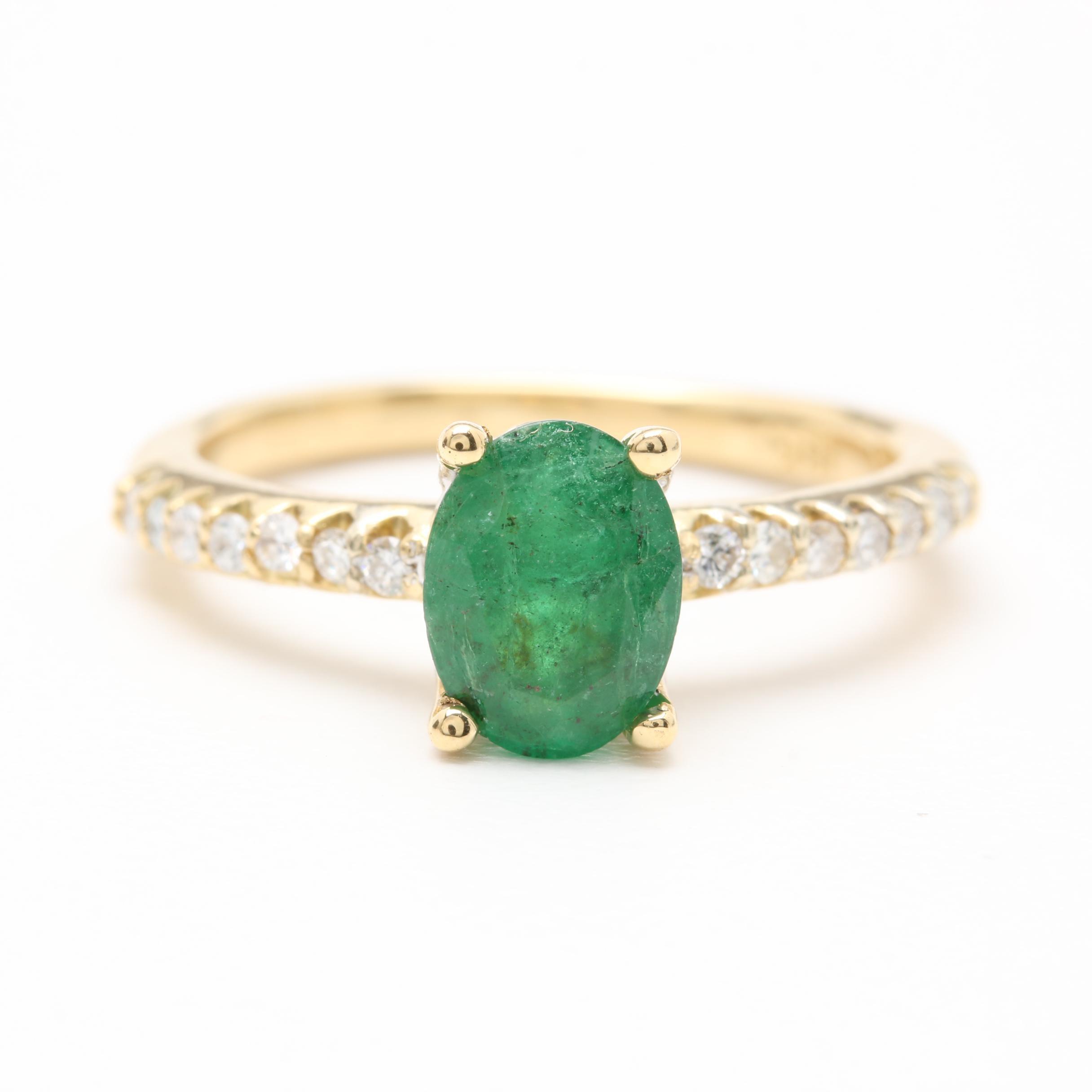 18K Yellow Gold 1.00 CT Emerald and Diamond Ring