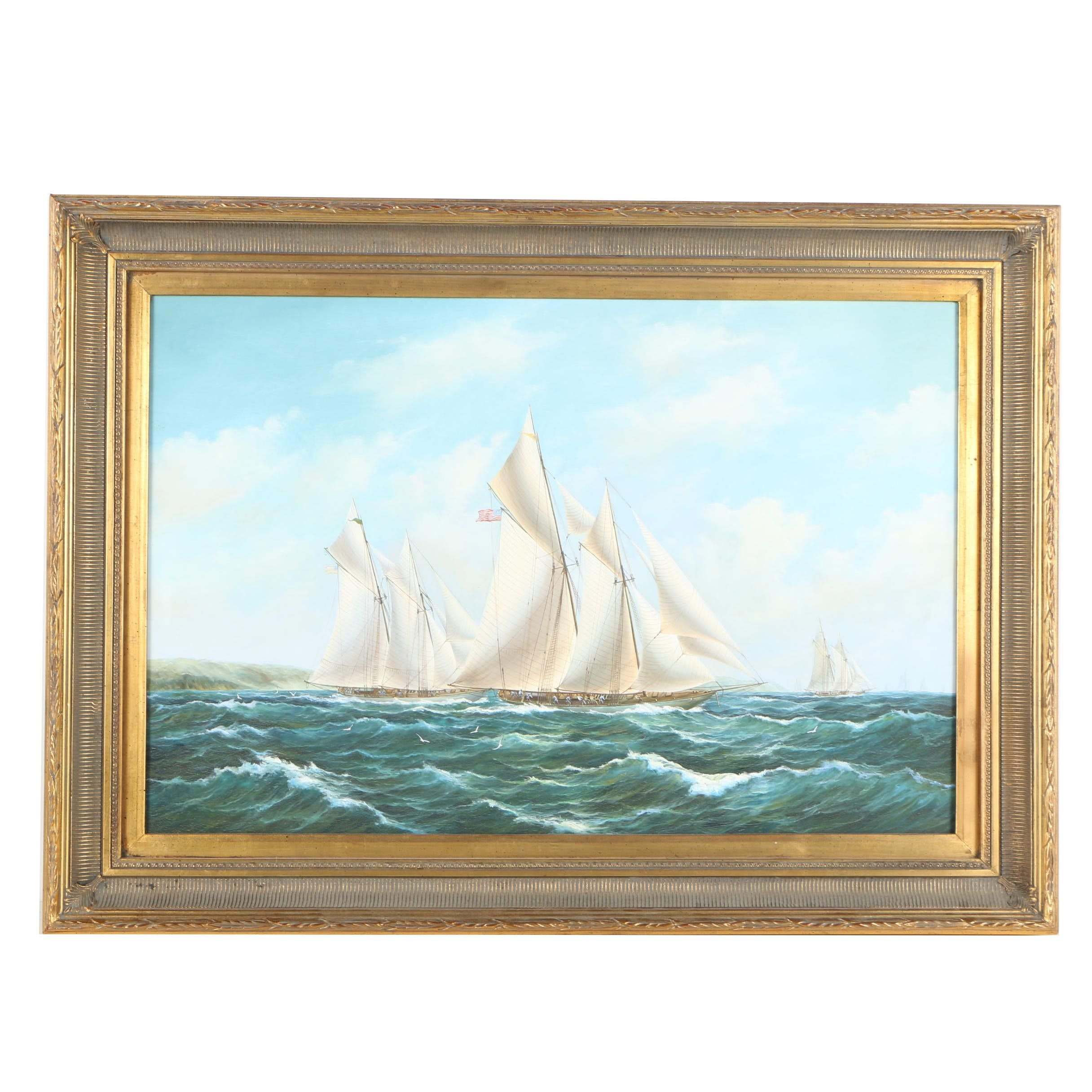 Oil Painting of Sailing Ships