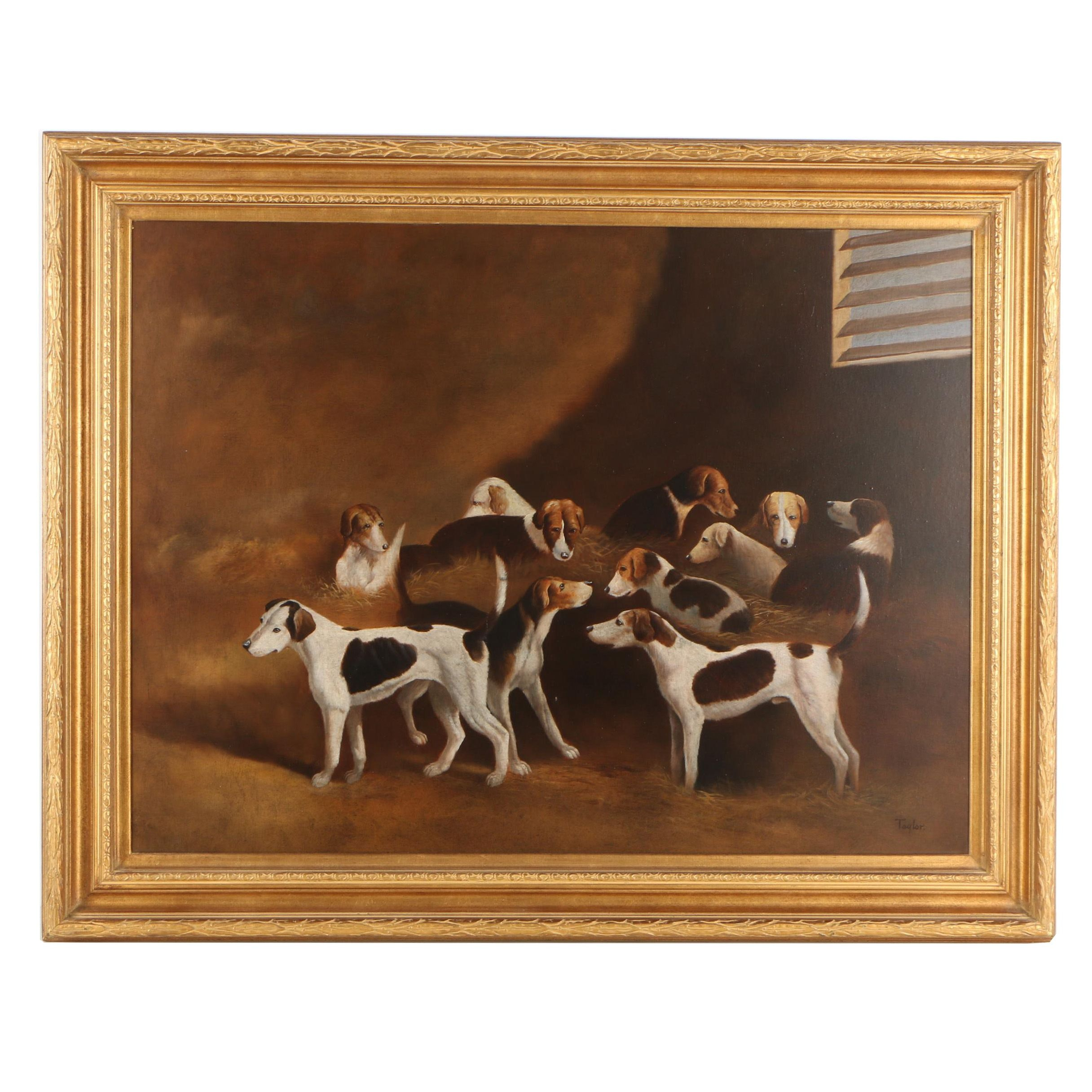 Taylor Oil Painting  of English Foxhounds