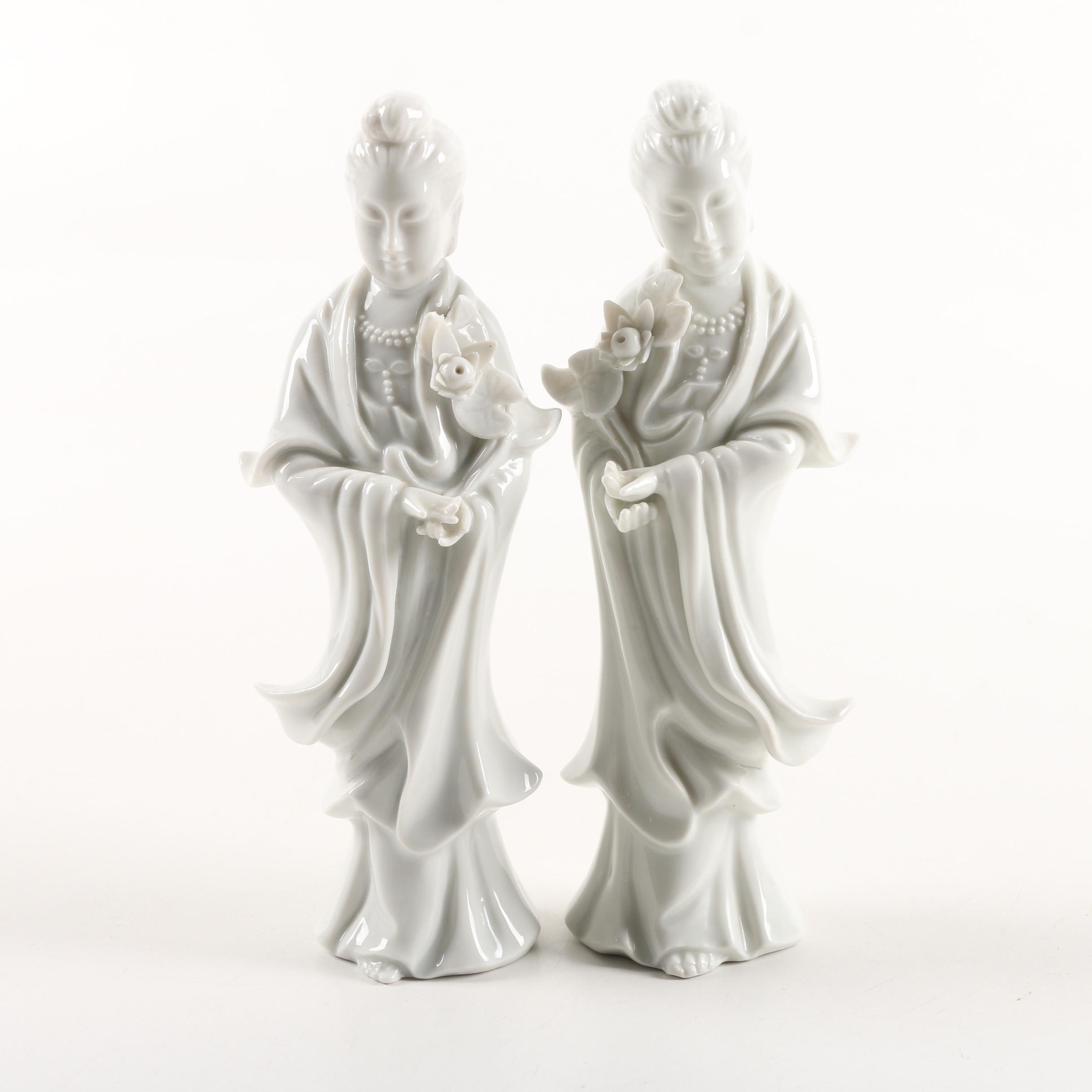 Fitz and Floyd Guanyin Blanc de Chine Porcelain Figurines