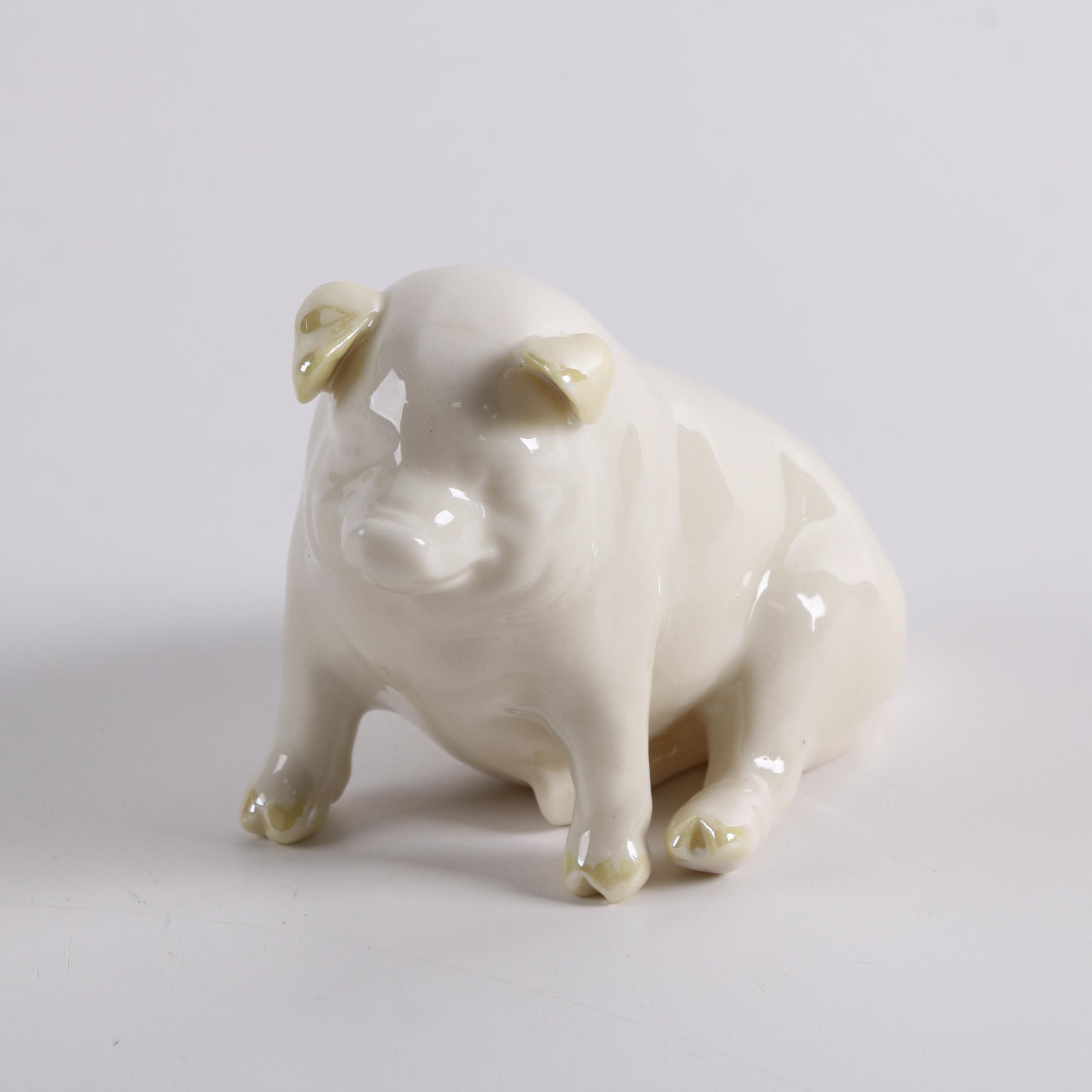 Vintage Belleek Porcelain Pig Figurine