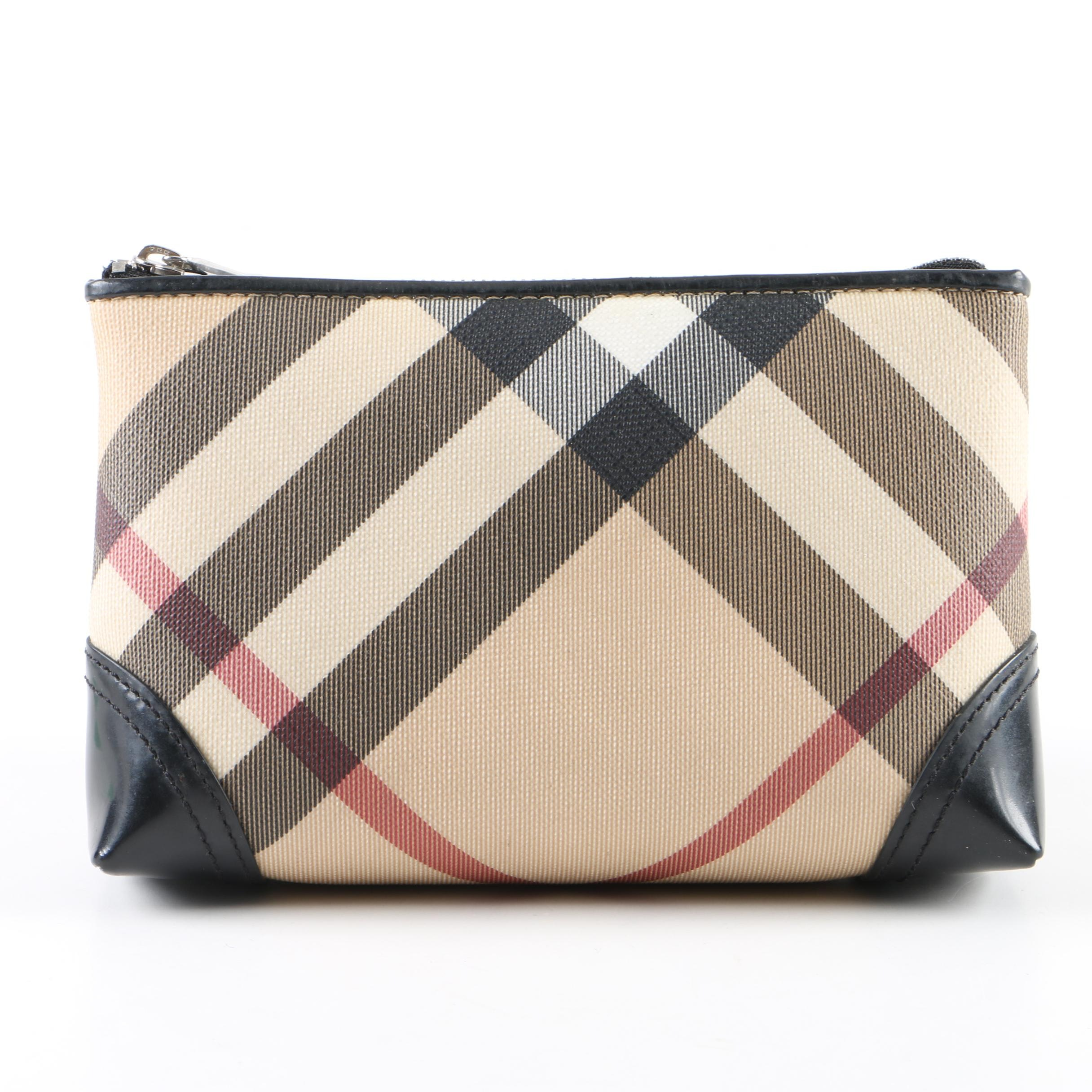 "Burberry ""Nova Check"" Coated Canvas Cosmetic Bag"