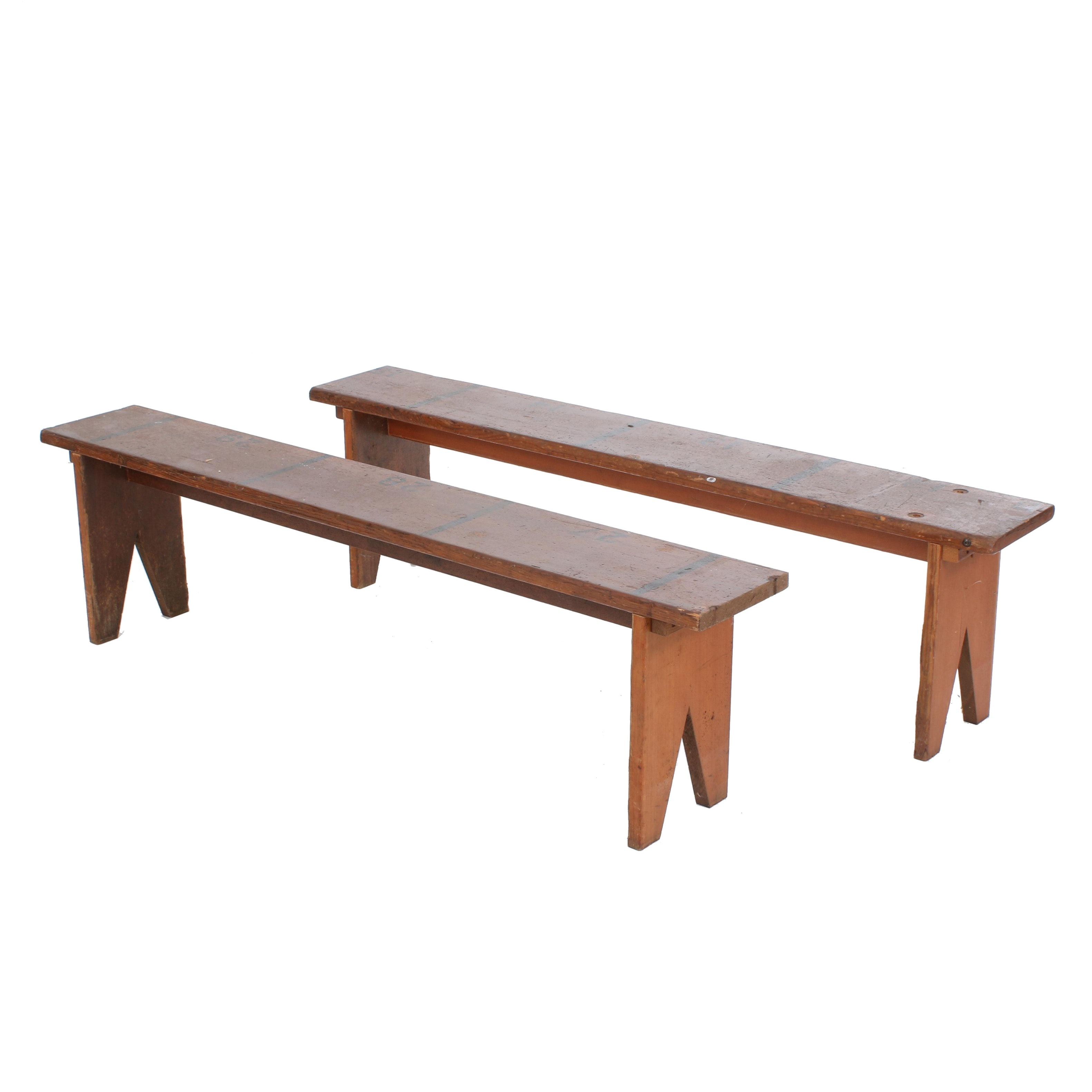 Vintage Pine Gymnasium Benches from the Winchester, Indiana Fieldhouse