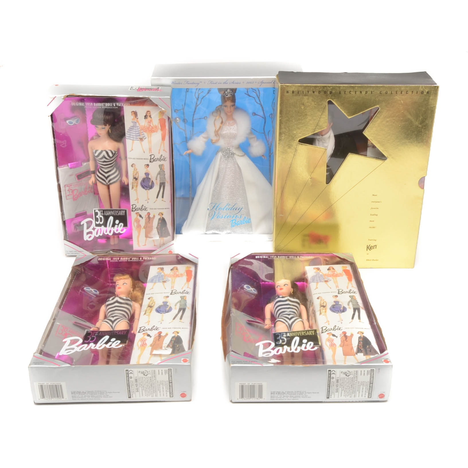 Five Barbie and Ken Boxed Dolls