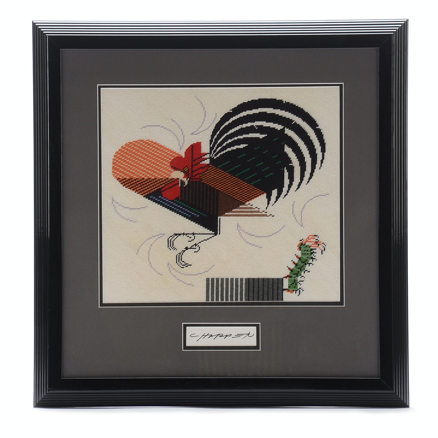 "Richard Gegner Needlepoint after Charley Harper ""Crawling Tall"""