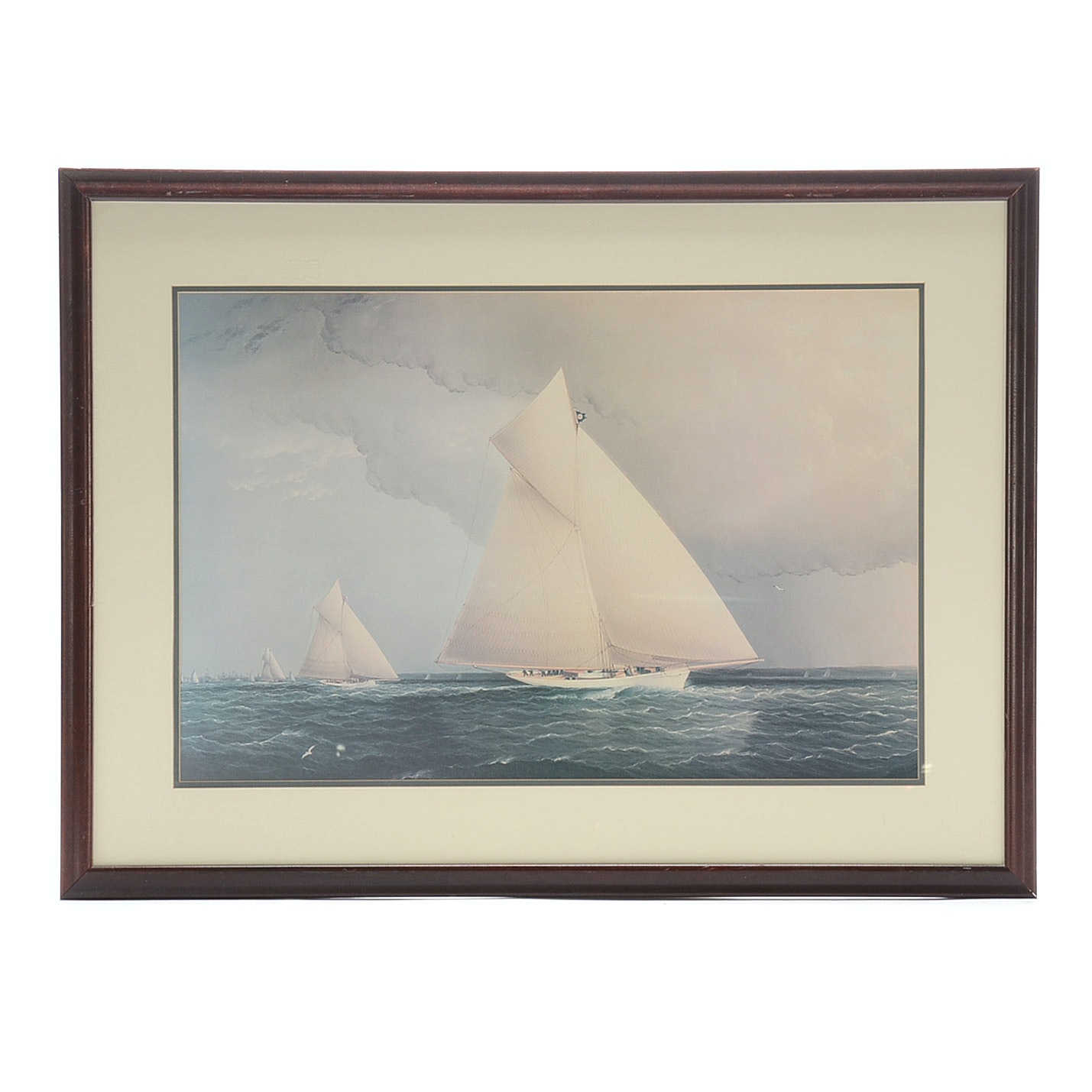 Offset Lithograph Print of Sailing Ships at Sea
