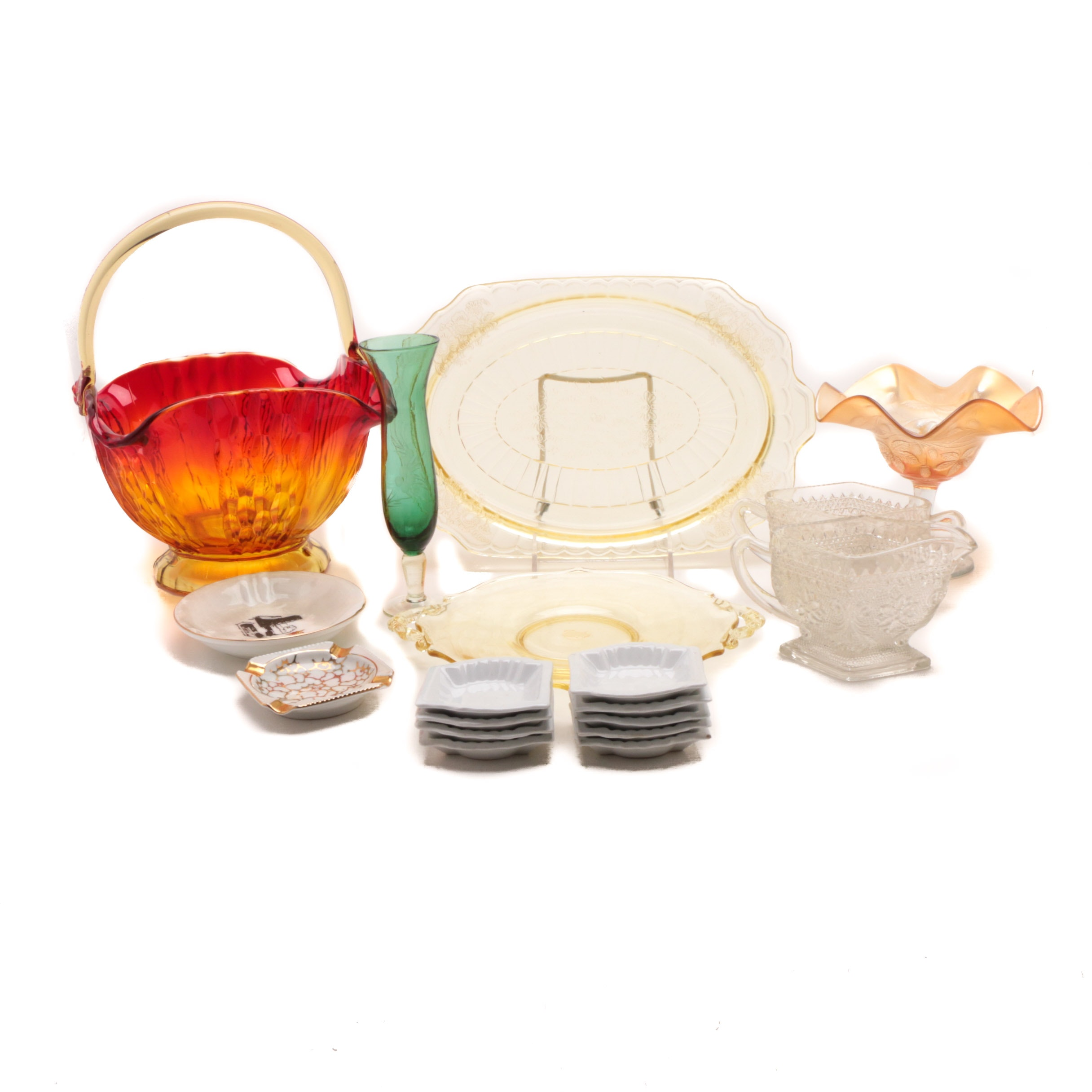 Assortment of Depression Glass, Amberina and Tableware