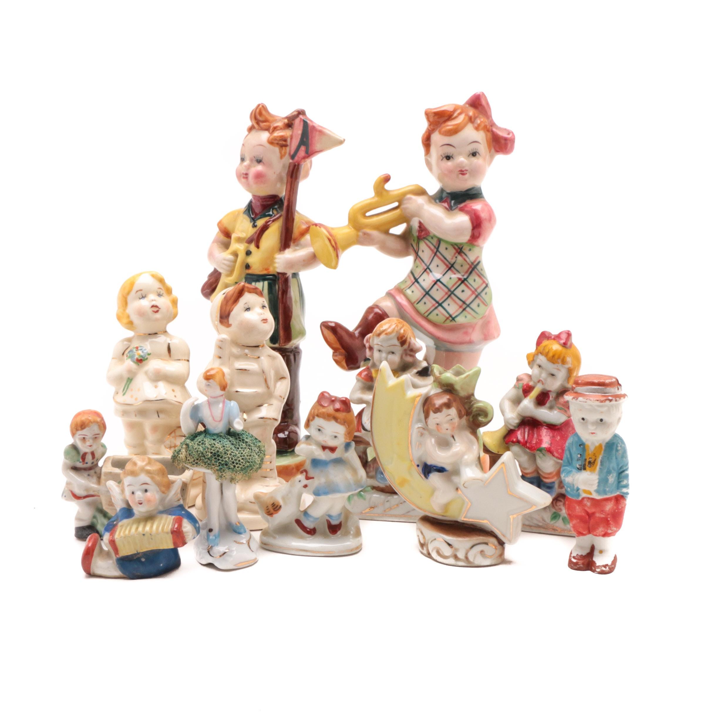 Group of Vintage Porcelain Figurines of Children including Occupied Japan