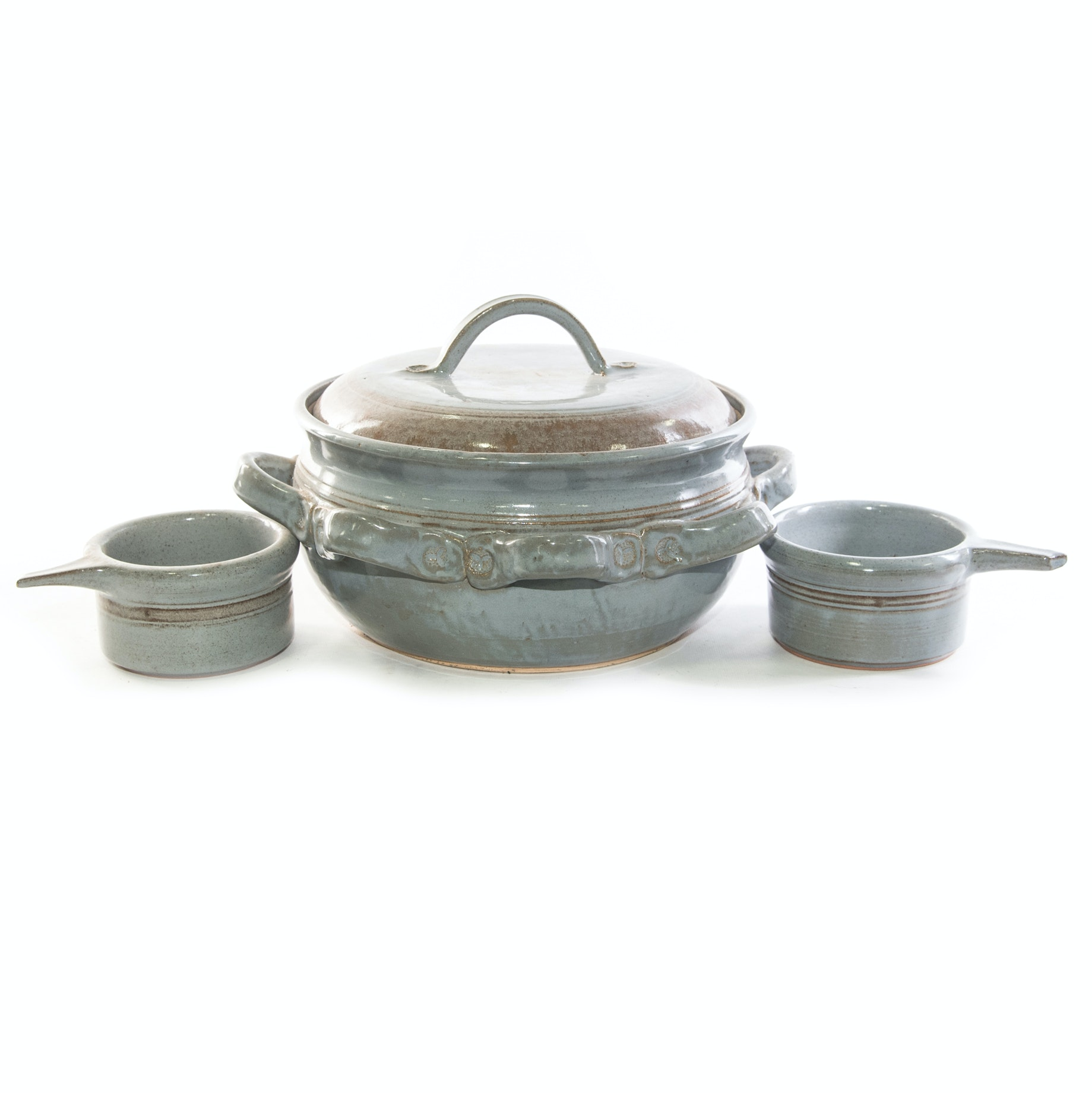 Brown Pottery Soup Tureen with Matching Bowls