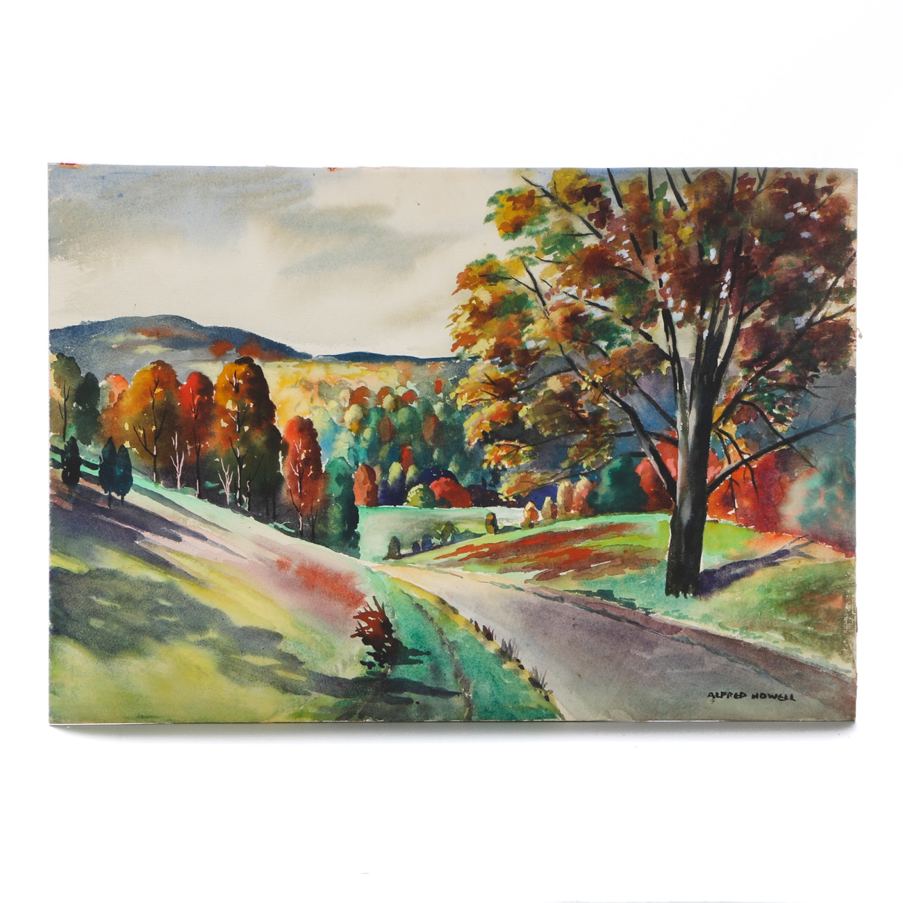 Alfred Howell Original Watercolor Landscape on Paperboard