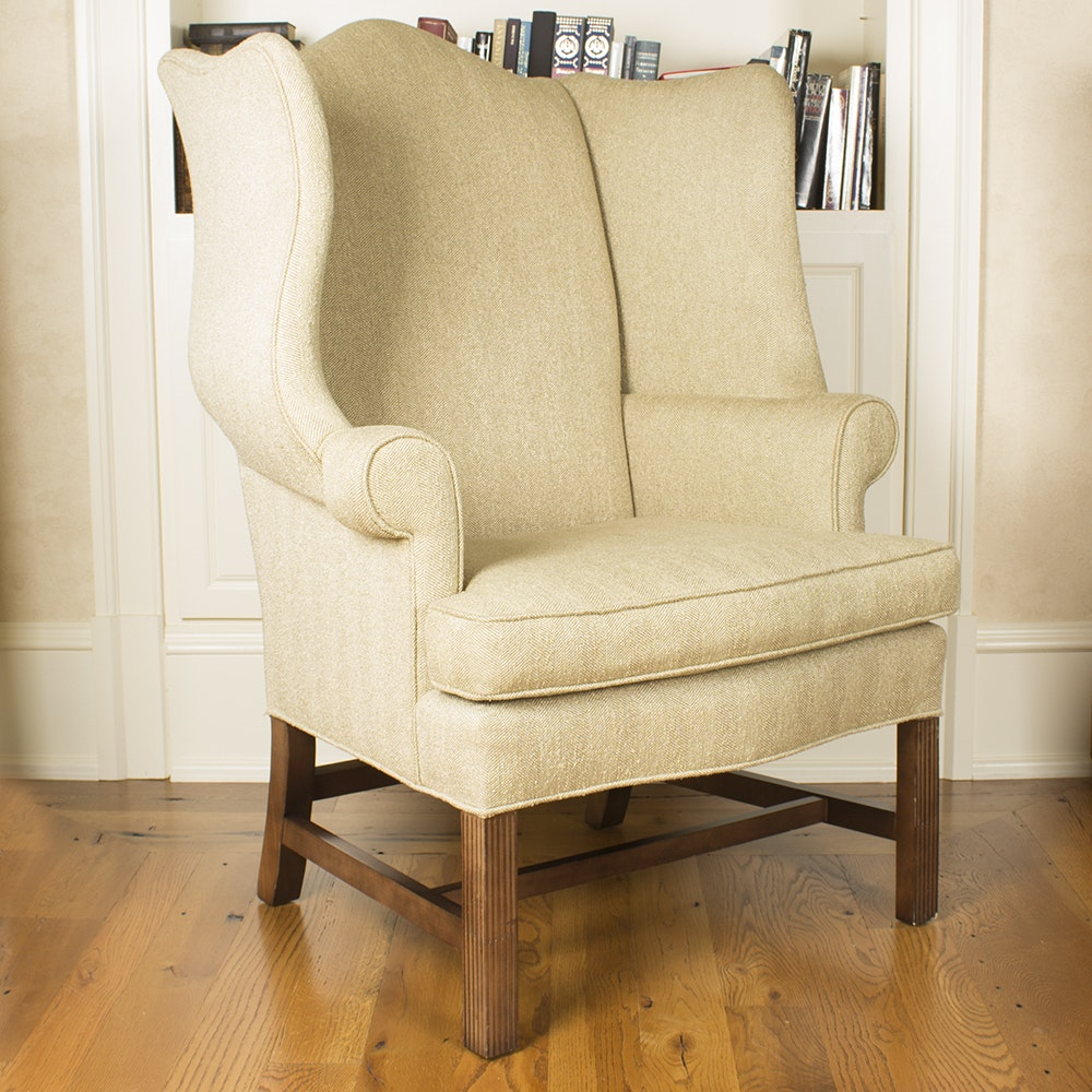 Chippendale Style Upholstered Wingback Armchair by J. Royale