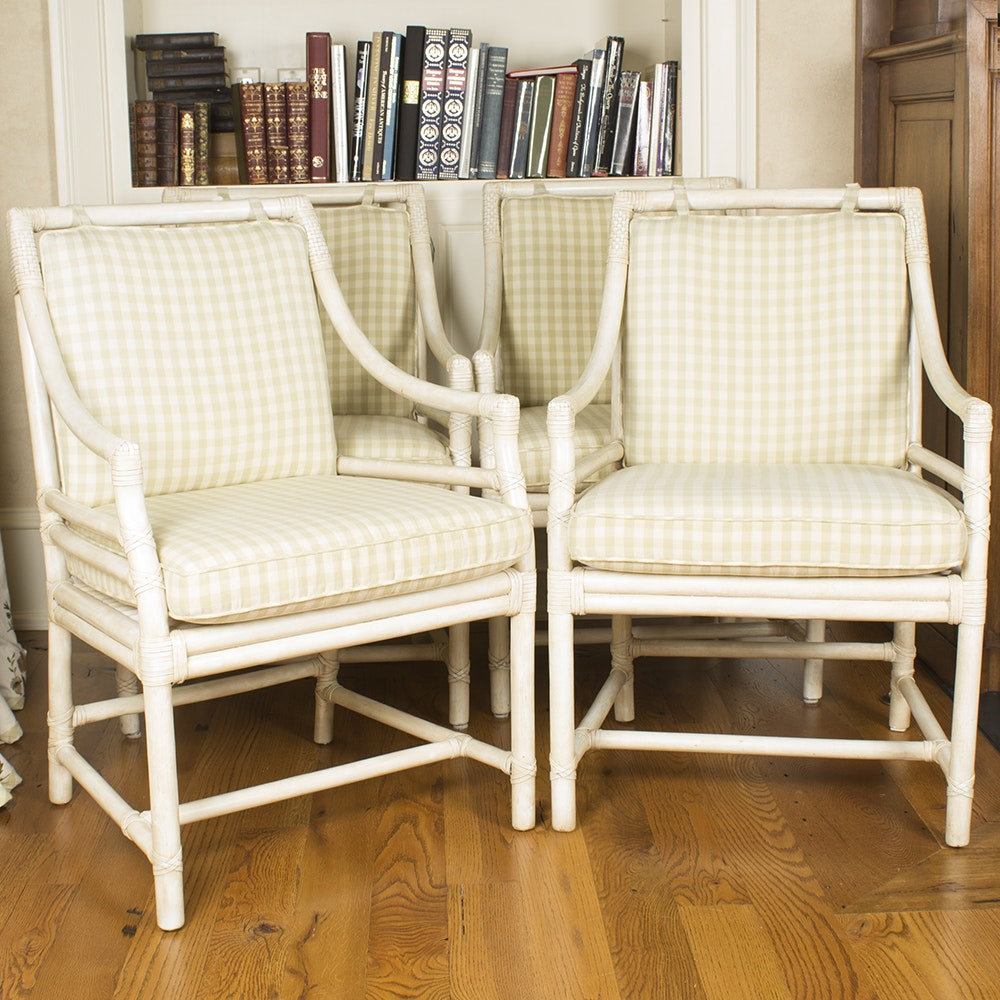 White Rattan Target Back Armchairs by McGuire