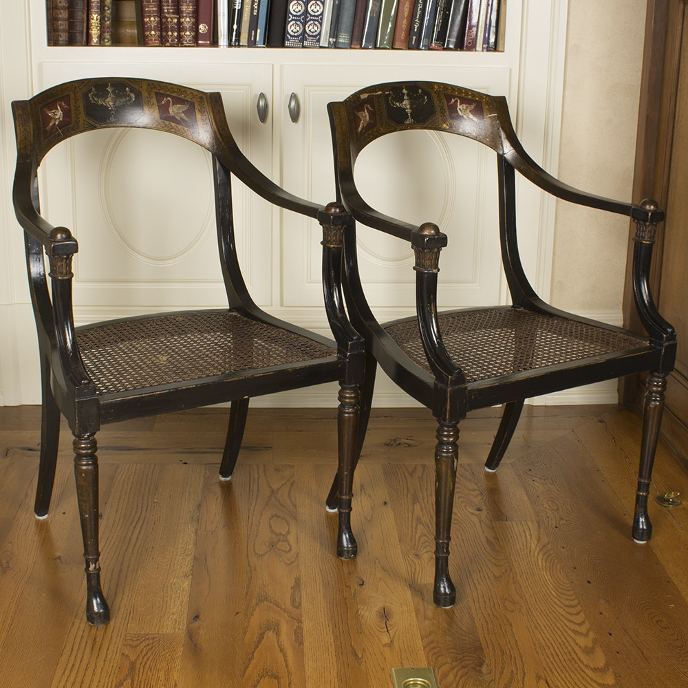Neoclassical Style Caned Armchairs by Shaw Furniture Company