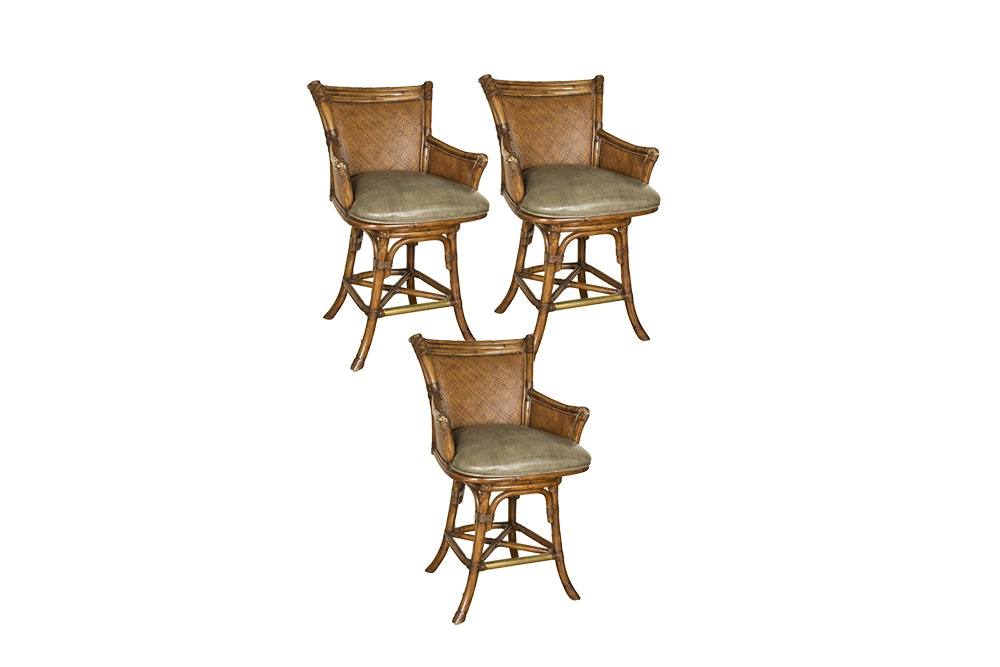 Rattan and Woven Wood Swivel Barstools