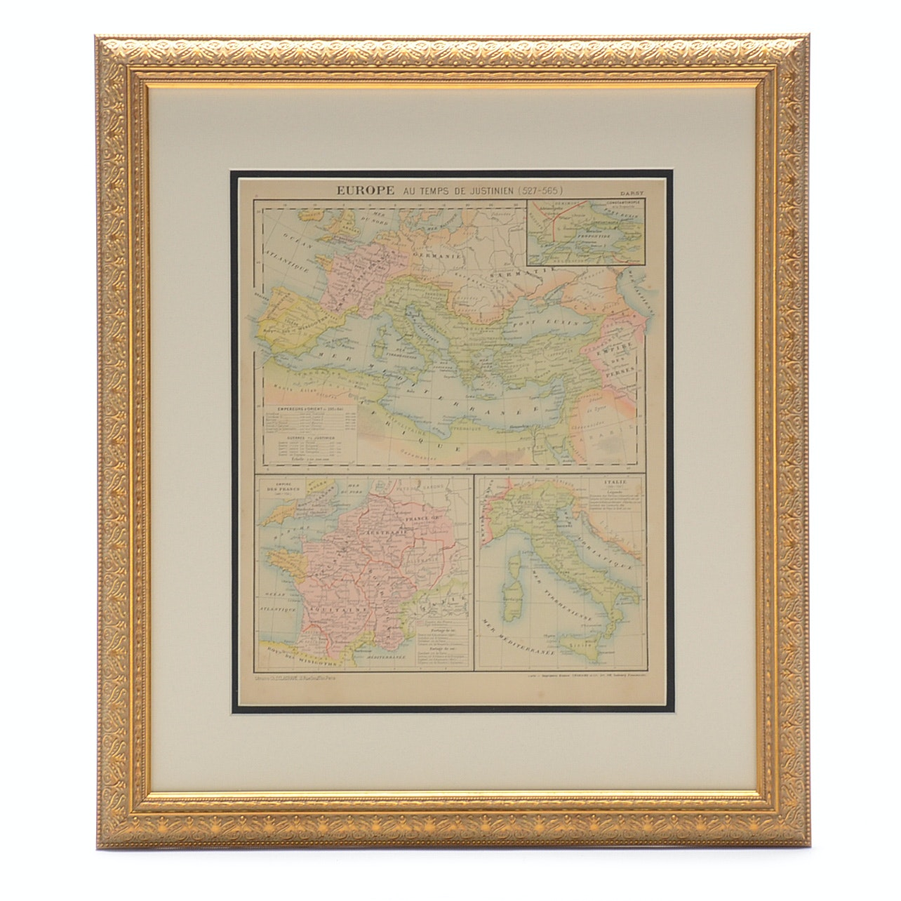 """Antique 1881 French Map Engraving of Europe """"Au Temps de Justinien (527-565)"""""""