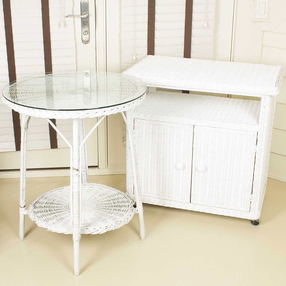 White Wicker Table and Cabinet