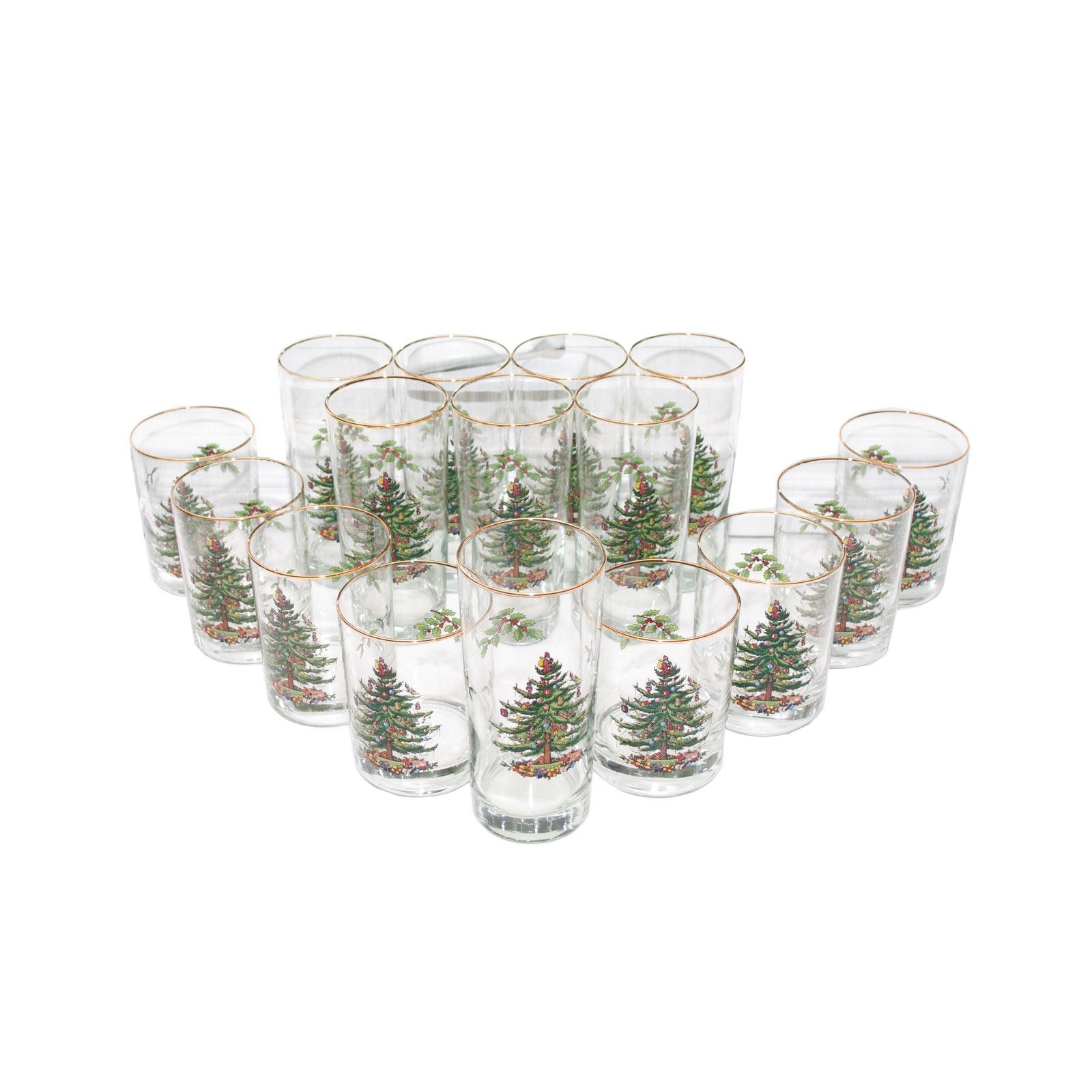"Set of Spode ""Christmas Tree"" Glassware"