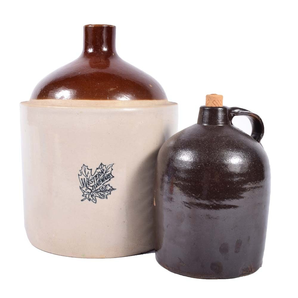 Western Stoneware and Albany Slip-Glazed Stoneware Jugs