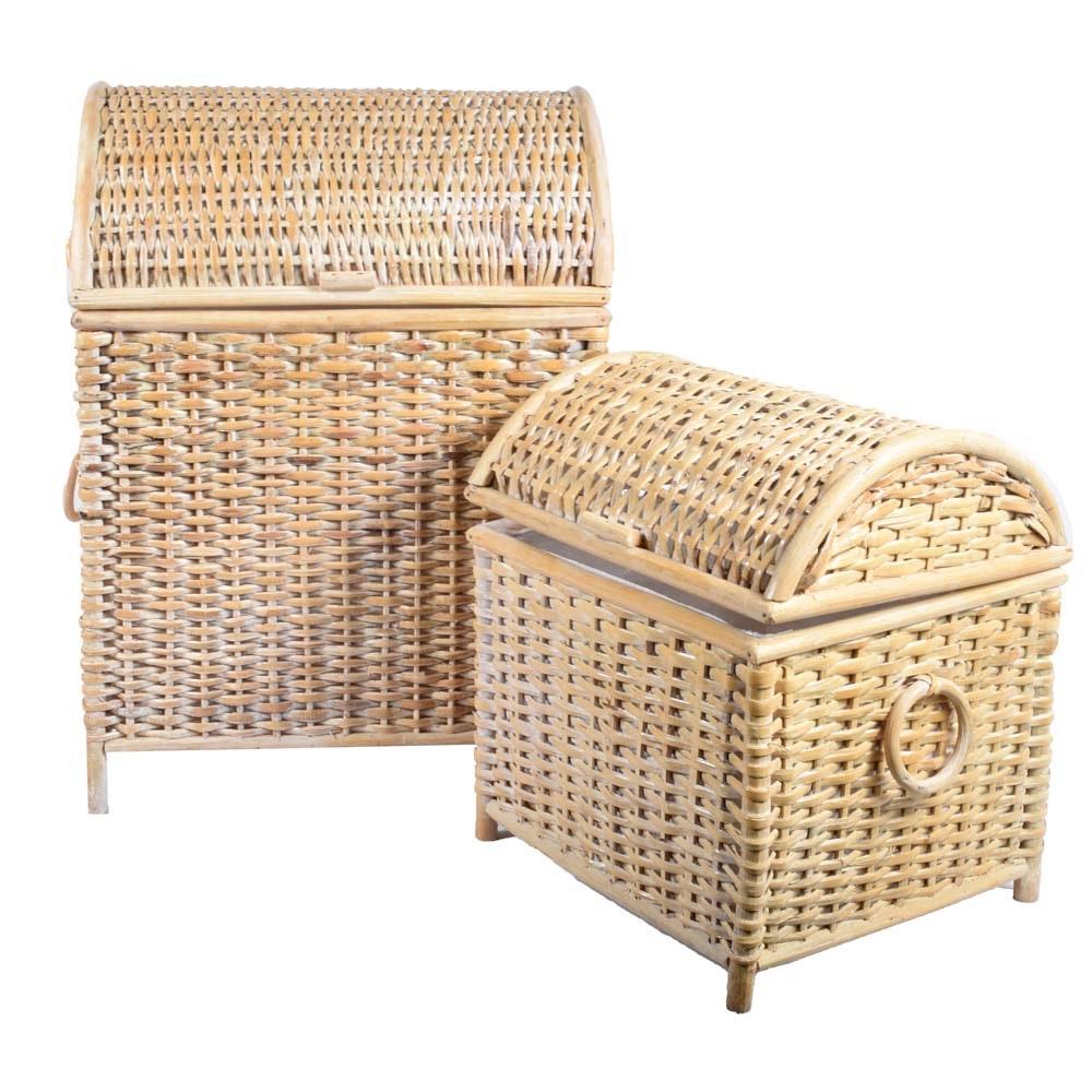 Woven Wicker Domed Nesting Floor Baskets
