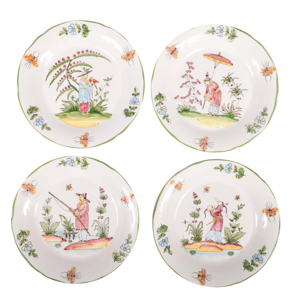 """J. Willfred """"Chinoiserie"""" Hand-Painted Wall Plates"""