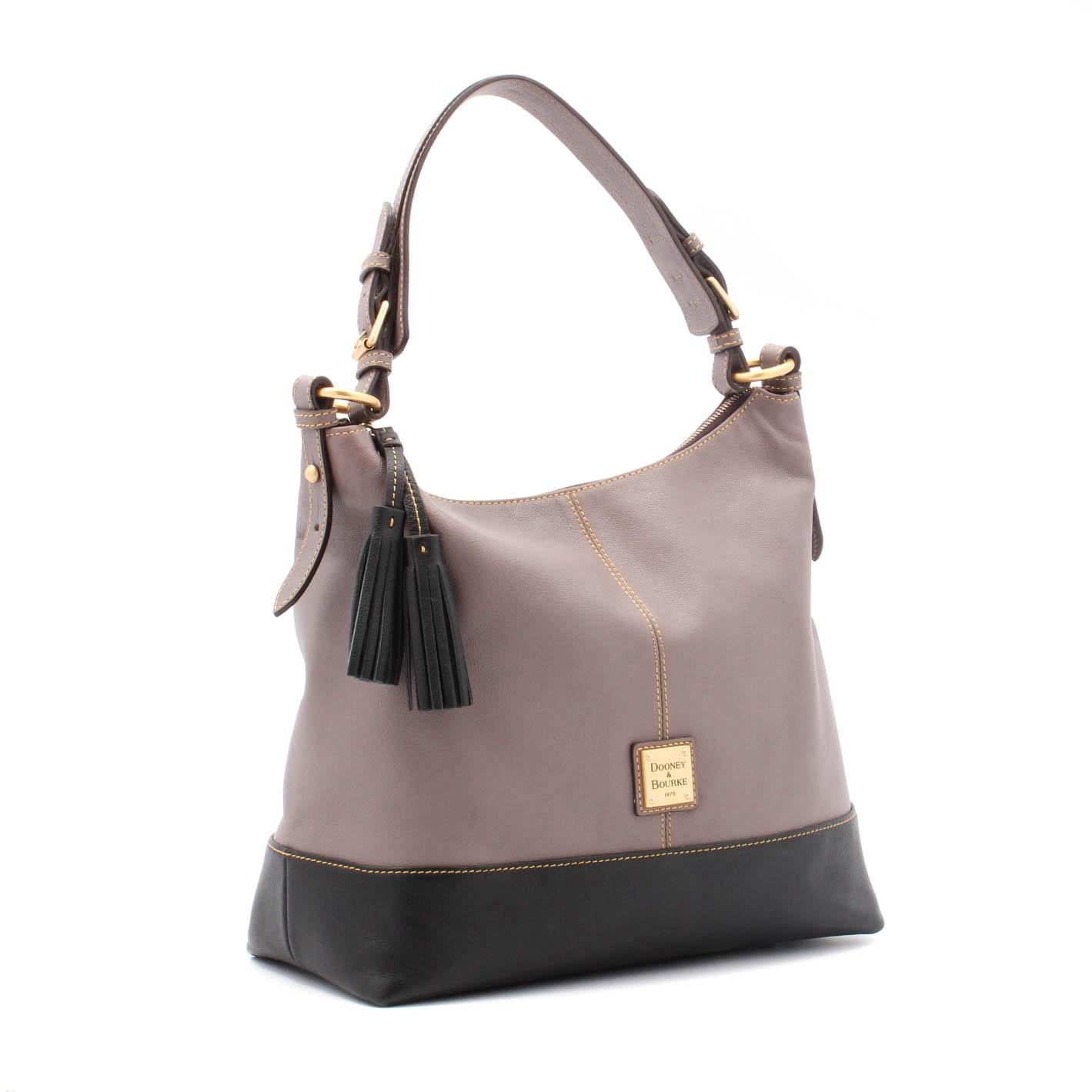 Dooney & Bourke Taupe and Black Leather Bucket Handbag