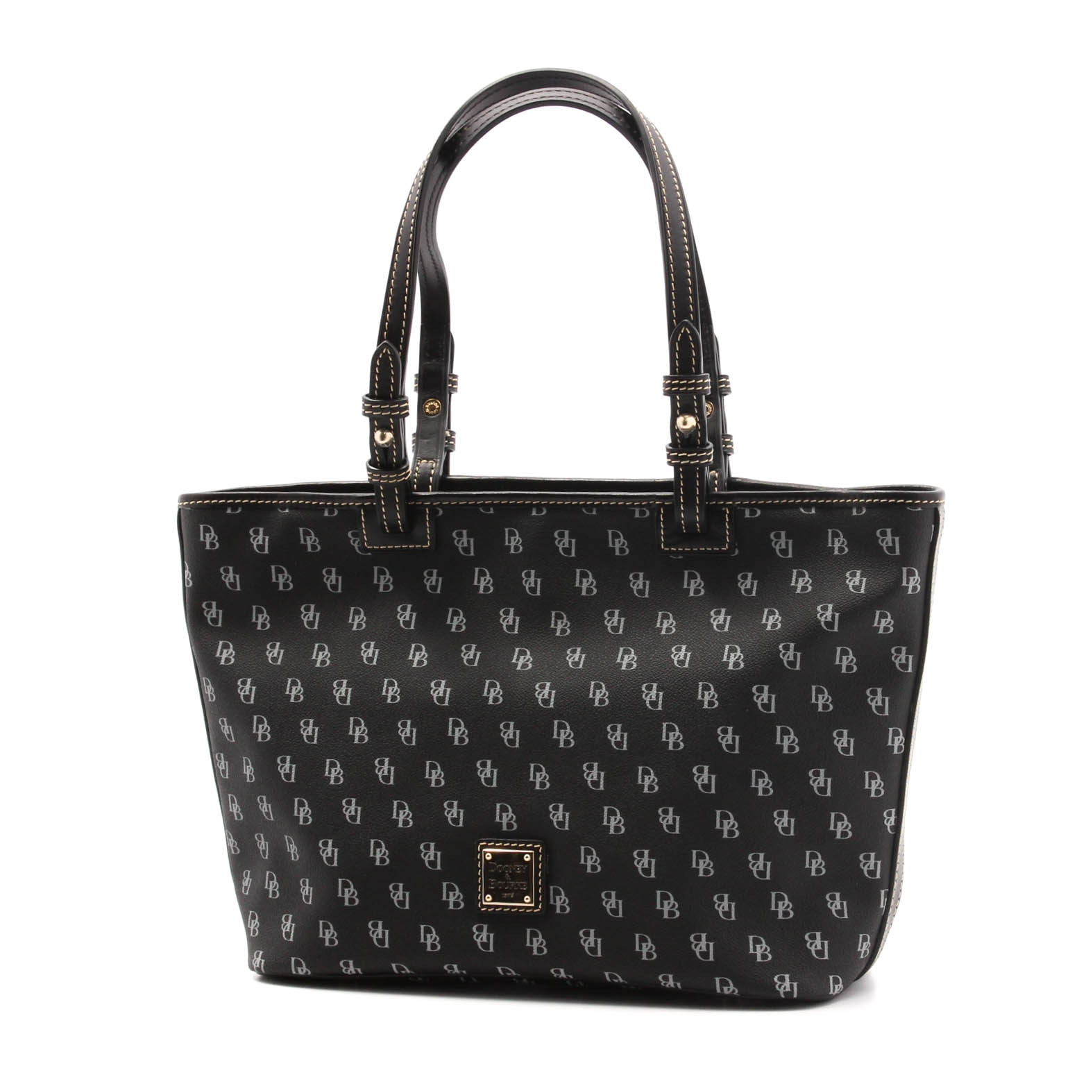 Dooney & Bourke Black Monogram Coated Canvas and Leather Tote