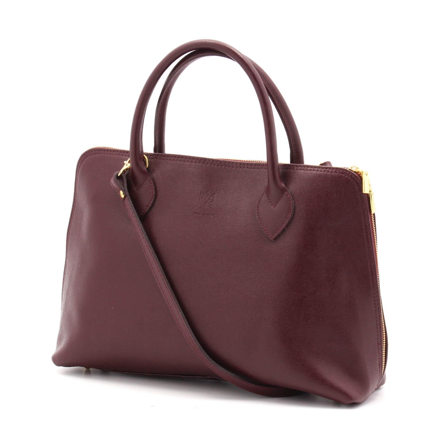 Italian Saffiano Leather Handbag in Merlot