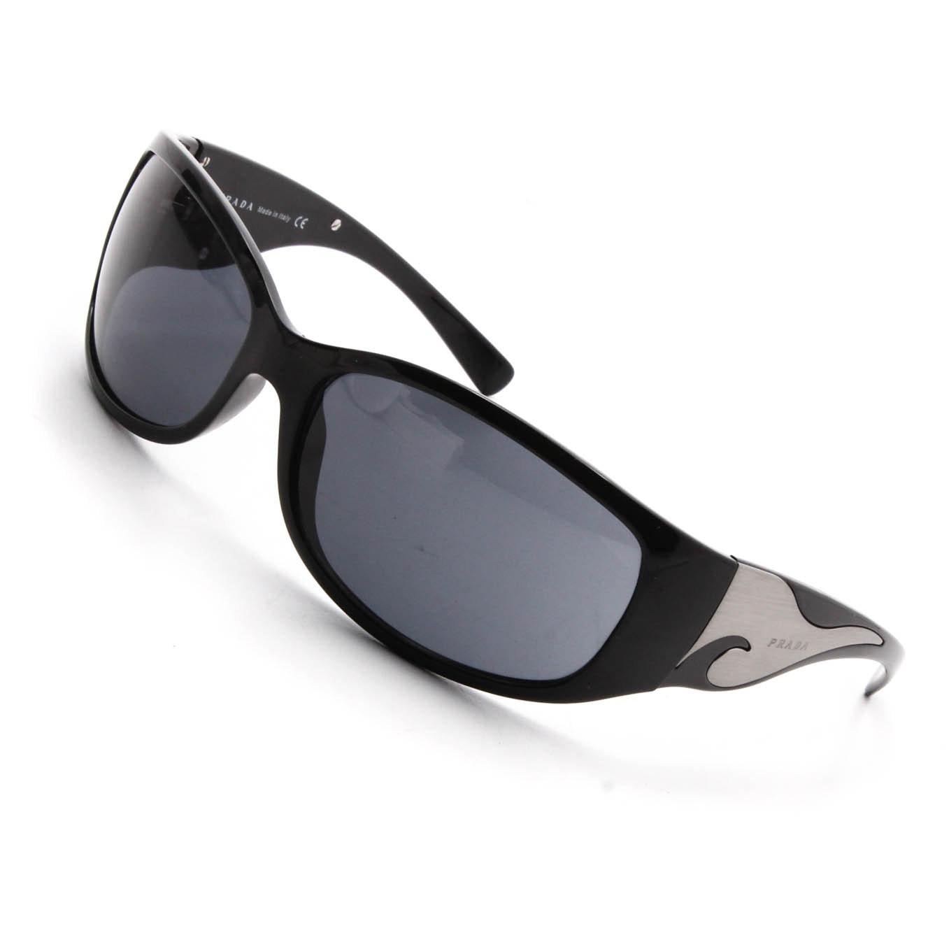 Prada Black Acetate Engraved Logo Plate Wrap Sunglasses