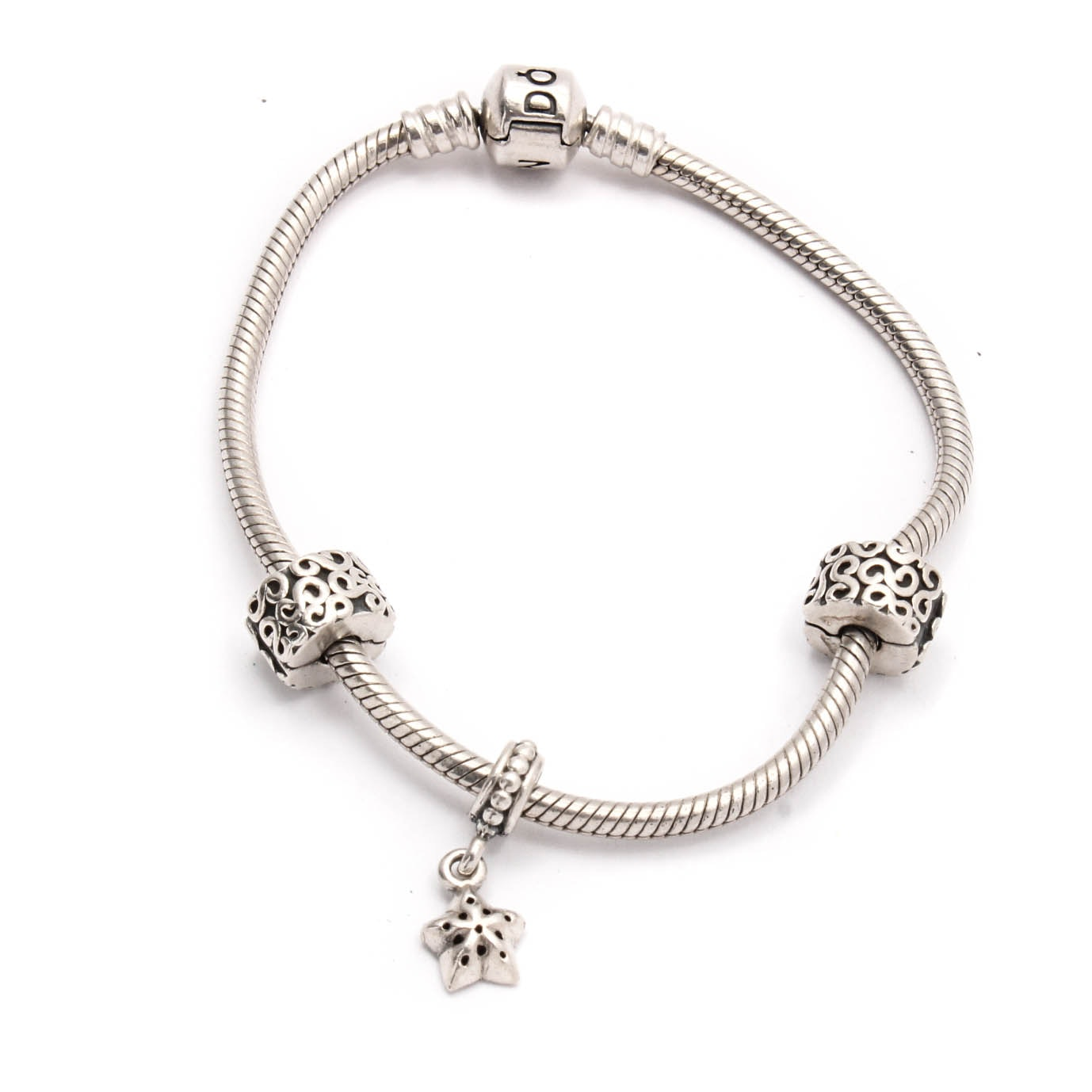 Pandora Sterling Silver Bracelet with Charms