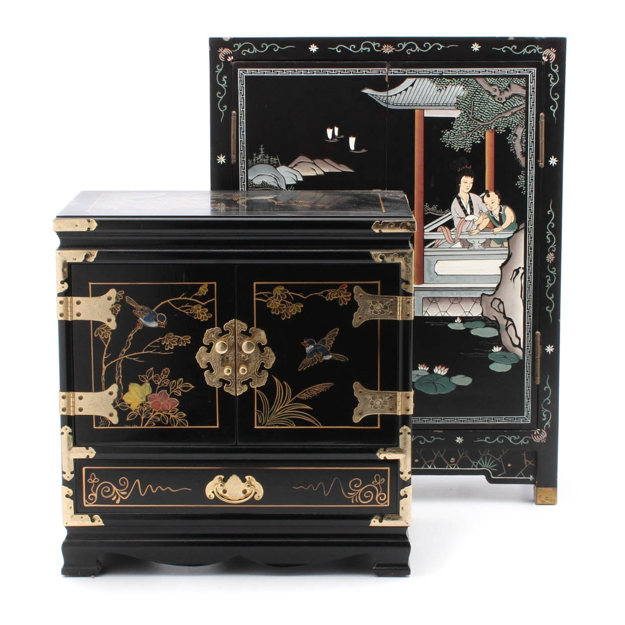 Two Diminutive Chinese Lacquered Cabinets