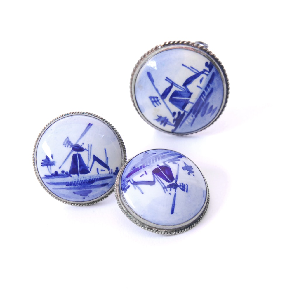 Silver Danish Porcelain Windmill Jewelry Collection
