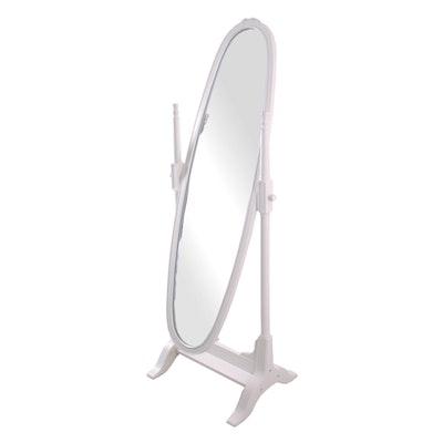 Wood Framed Oval Cheval Full Length Standing Mirror : EBTH