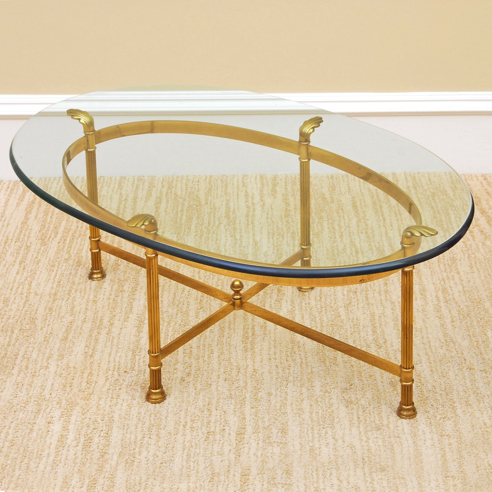 Glass Top Neoclassical Style Cocktail Table