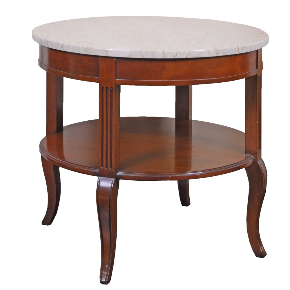 Stone Top Two-Tier Side Table