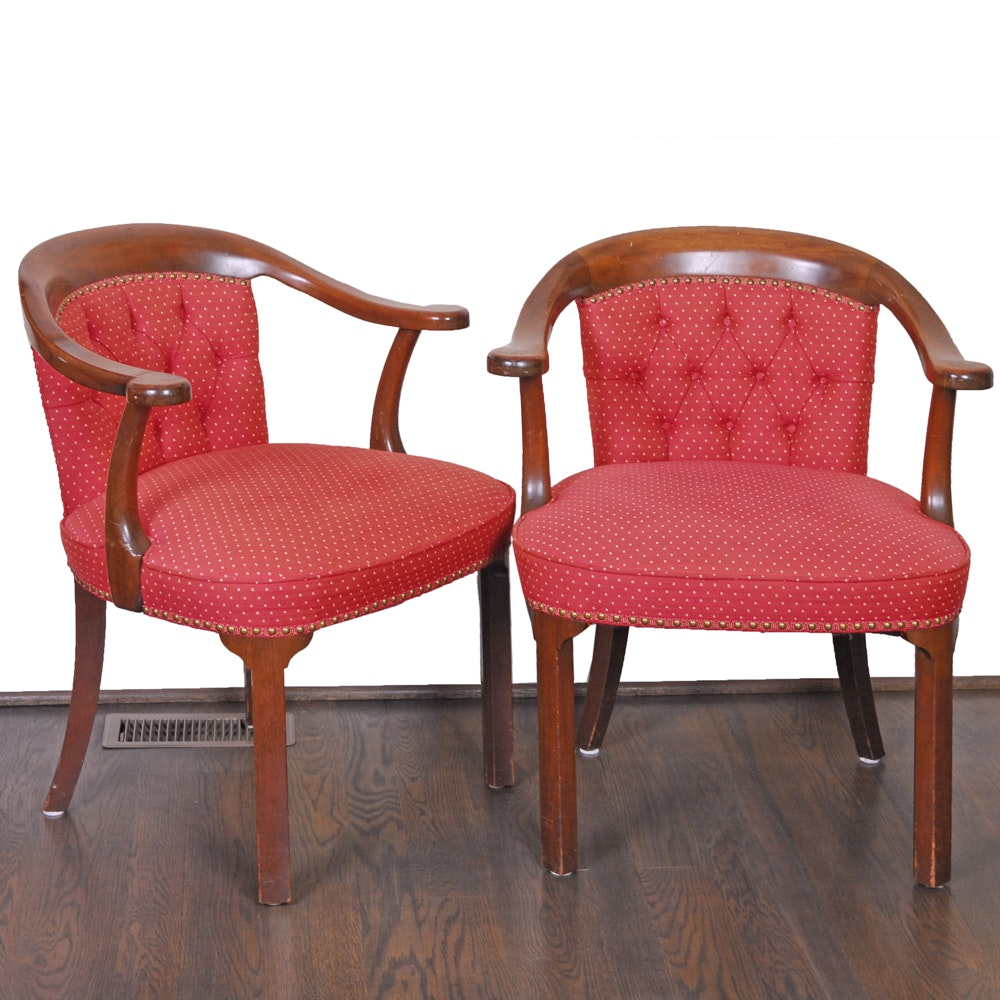 Red Upholstered Barrel Back Chairs