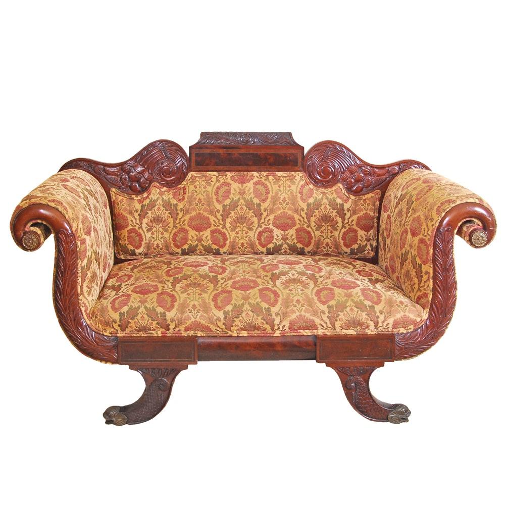 A Regency Style Scroll End Love Seat Sofa