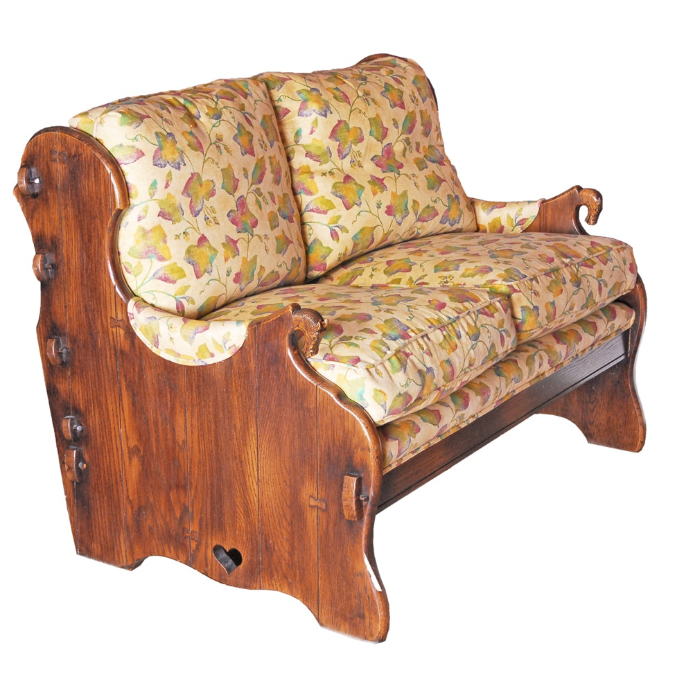 Vintage Country Style Bench with Cushions