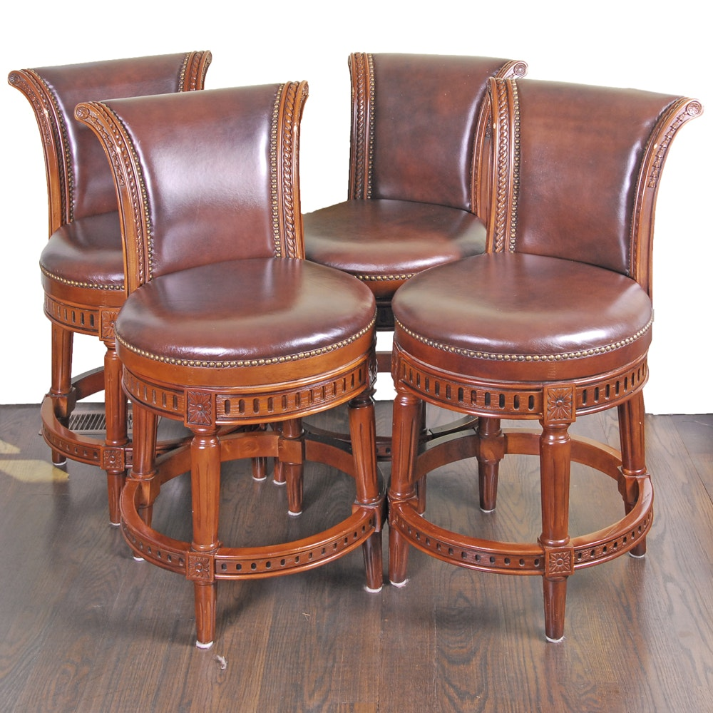 French Provincial Style Leather Barstools by Frontgate