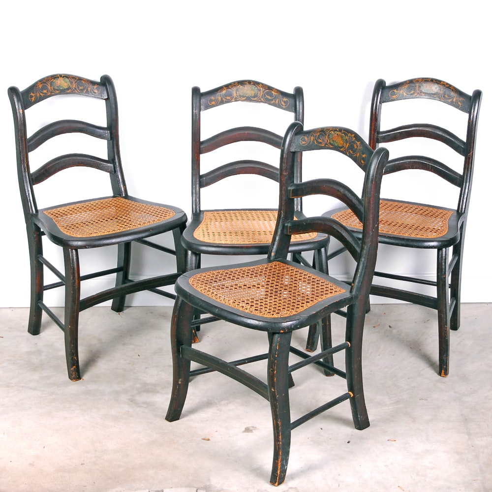 Four Ladder Back CanedChairs