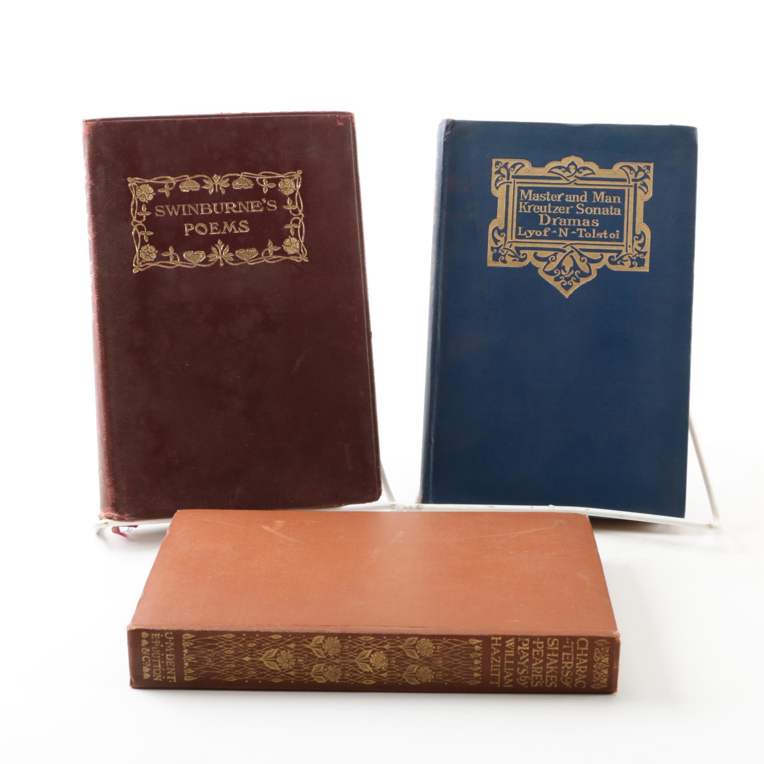 Antique Volumes of Swinburne, Hazlitt and Tolstoy