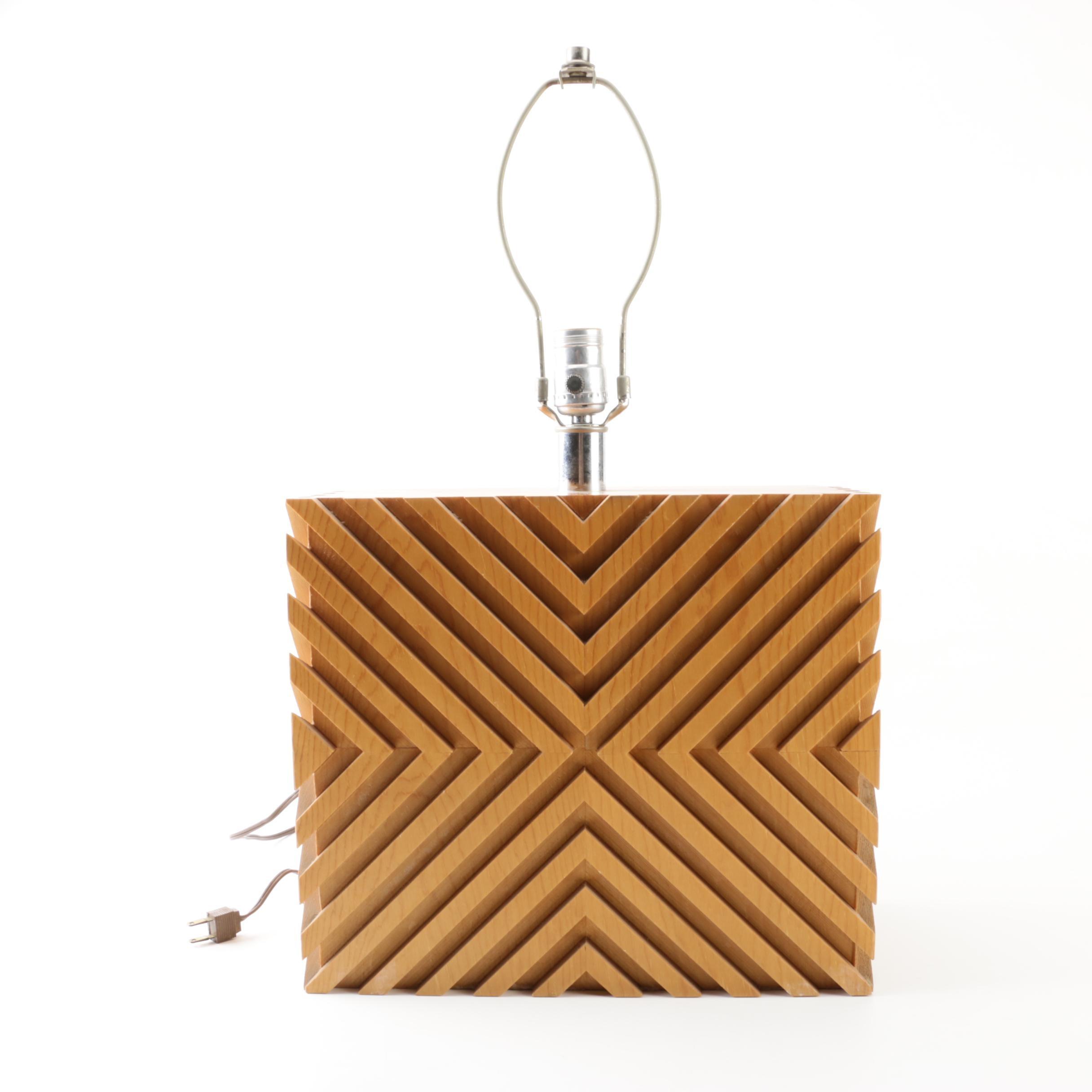 Mid Century Modern Wooden Block Table Lamp