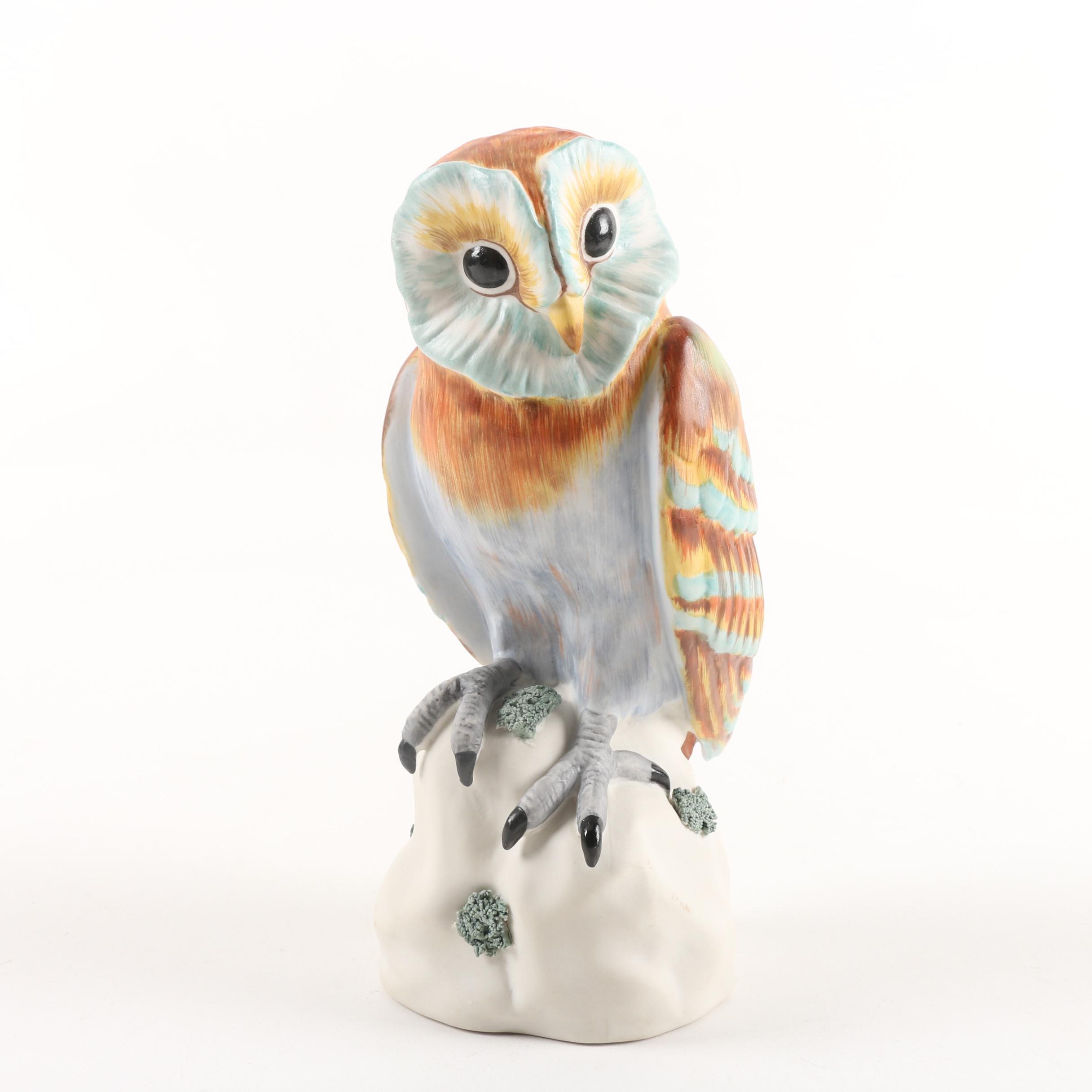 Italian Hand-Painted Porcelain Owl Figurine