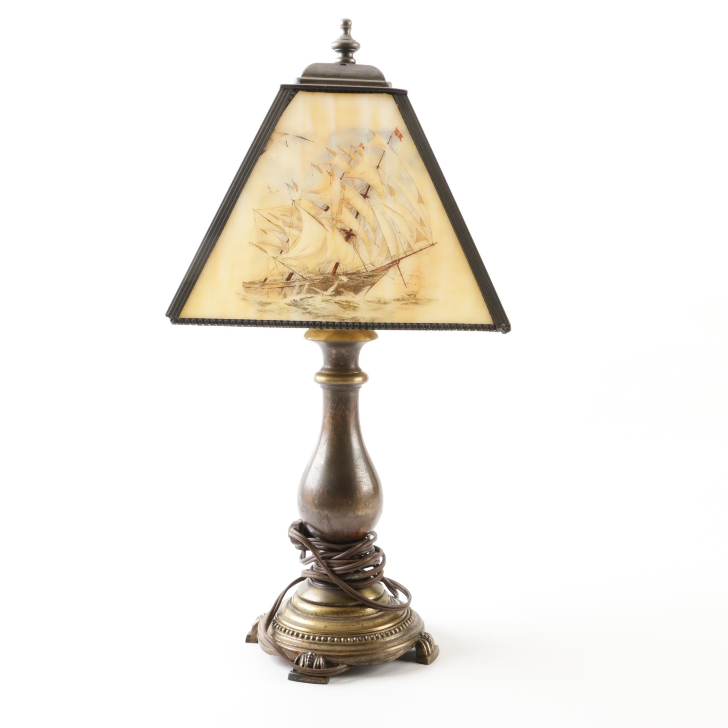 Vintage Nautical Table Lamp with Slag Glass Shade