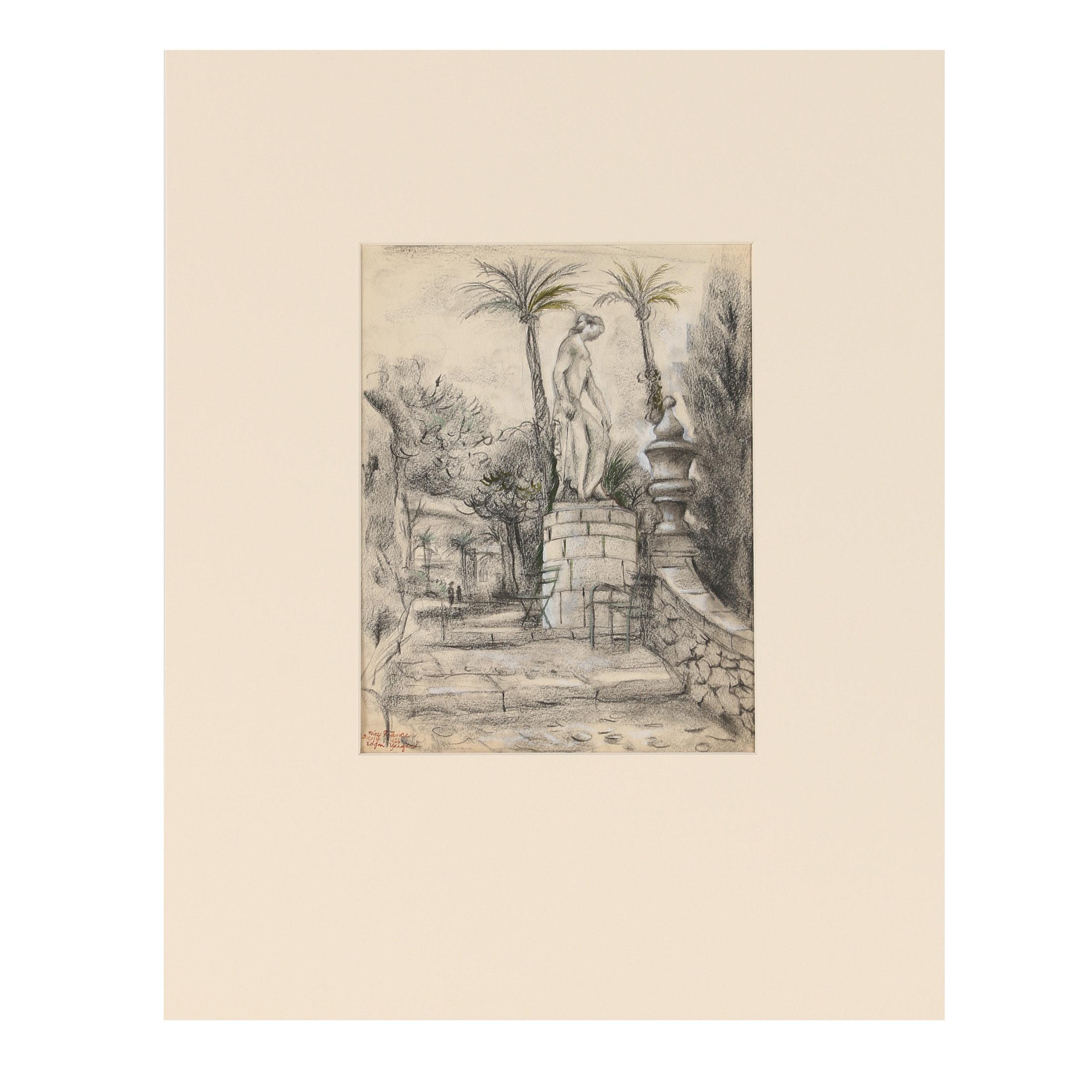 "Edgar Yaeger Mixed Media Drawing ""Nice, France"""