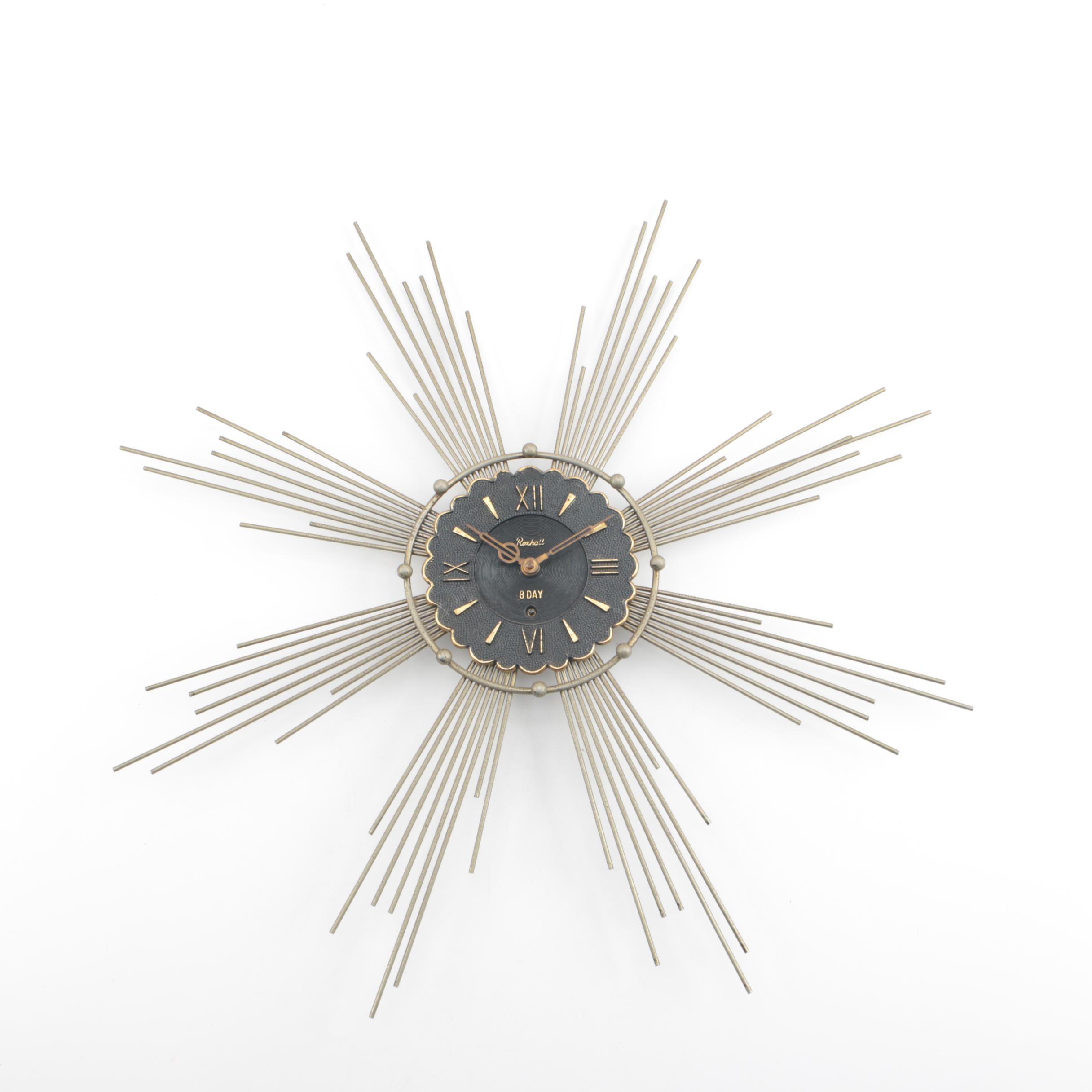 Mid Century Modern Roxhall 8-Day Starburst Wall Clock