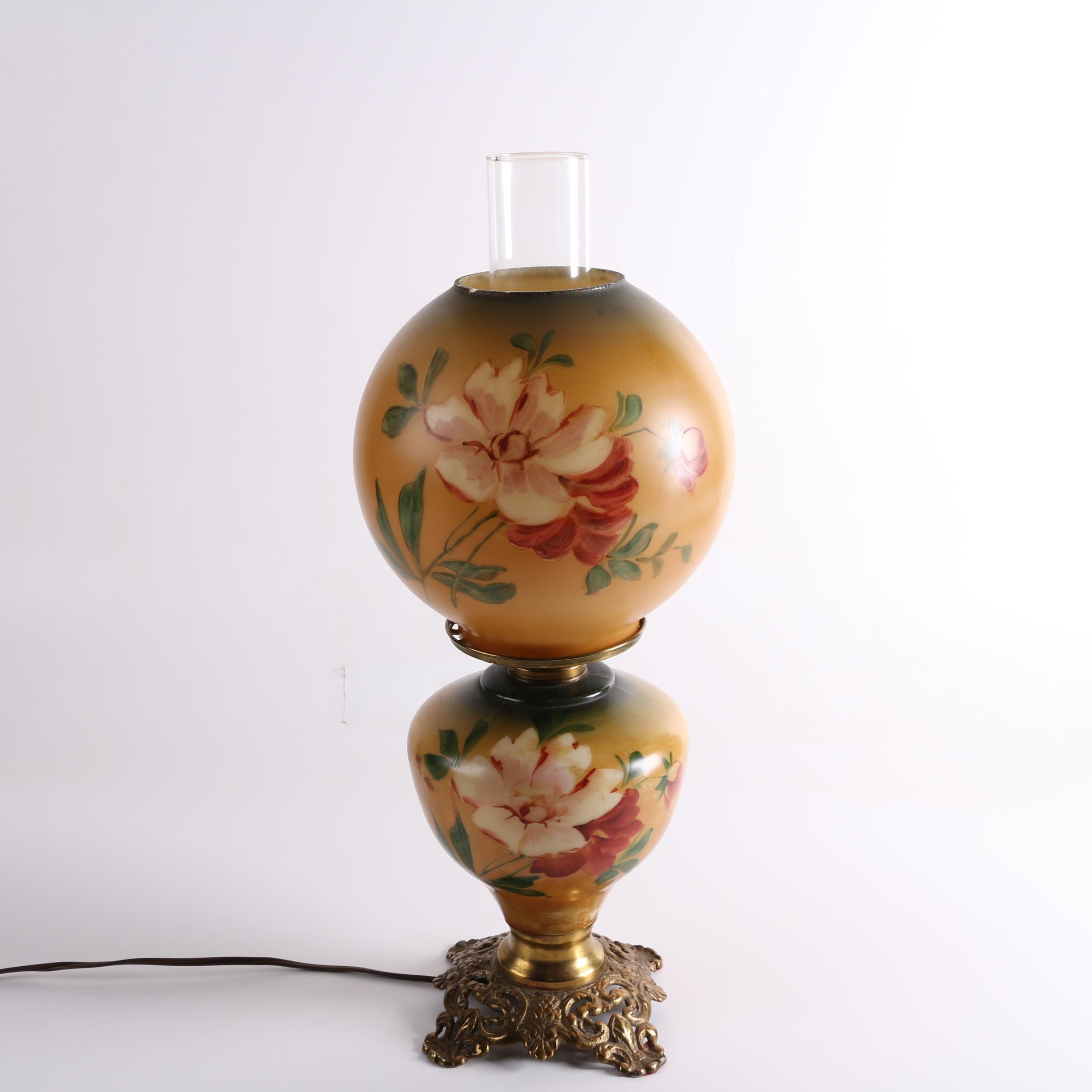 Replica Victorian Hand-Painted Oil Lamp in the Style of Parlor Lamp