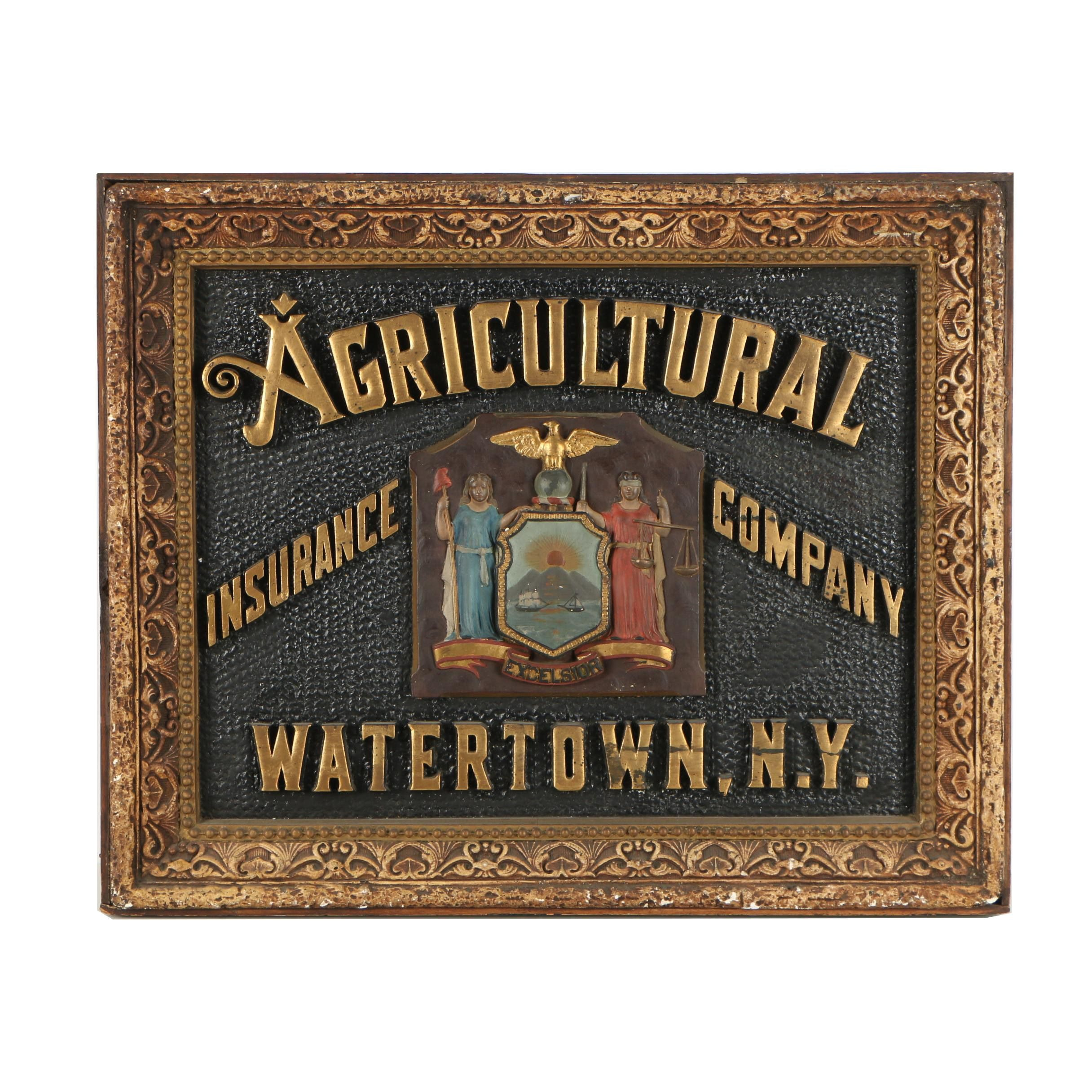 Hand Painted Agricultural Insurance Company Relief Sign