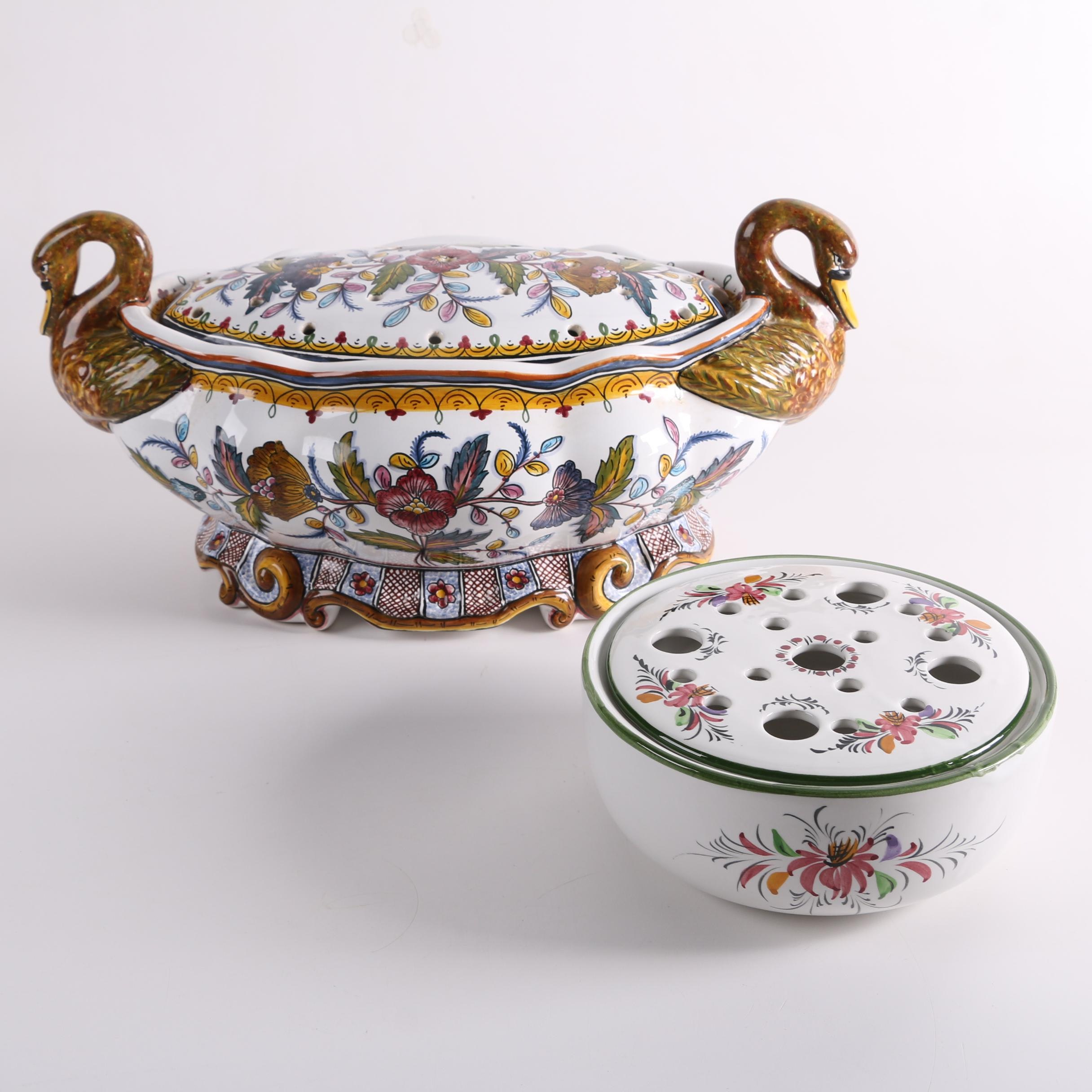 Portuguese Hand-Painted Faience Swan Form Potpourri Bowl with Lid and Bough Pot