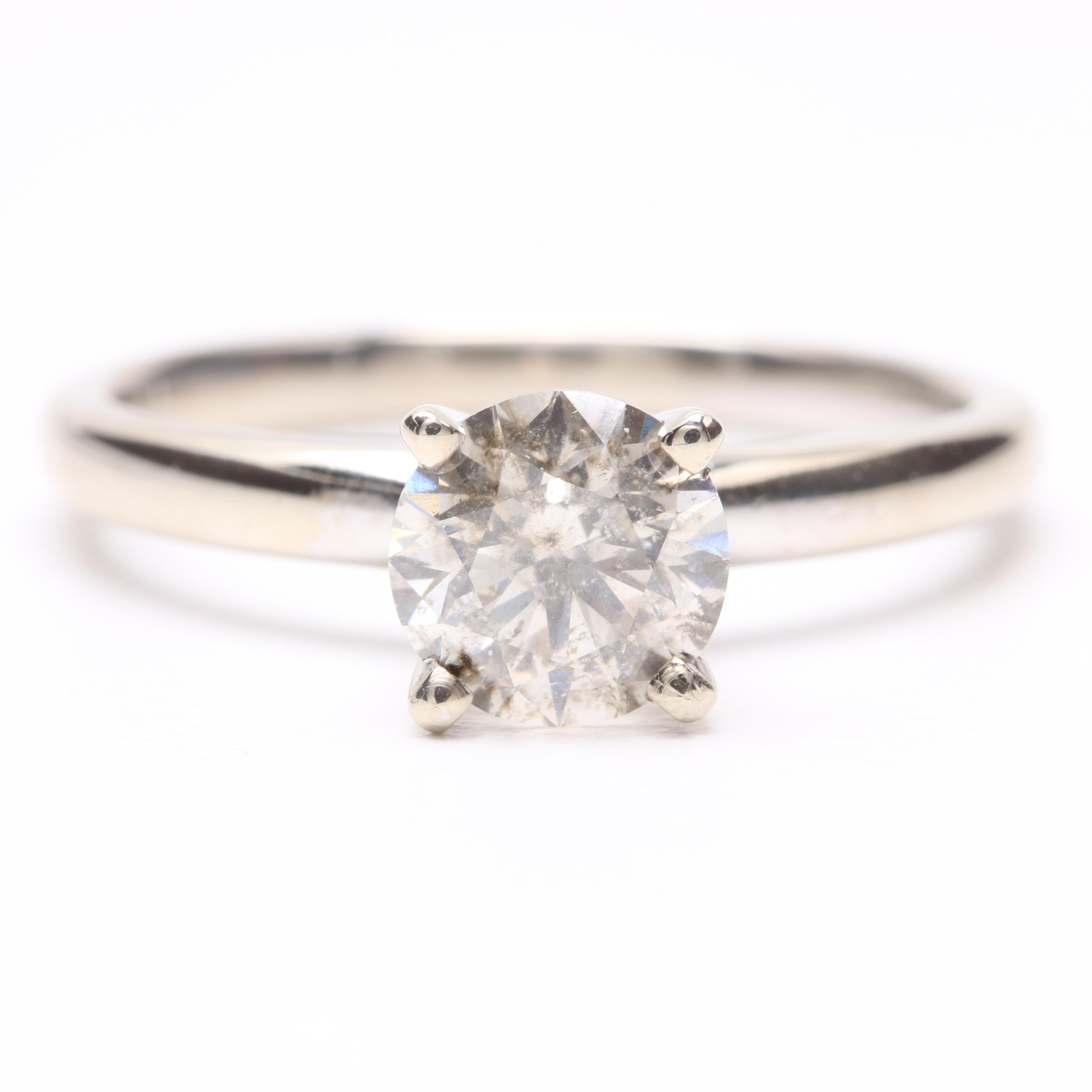 14K White Gold 1.02 CT Diamond Solitaire Ring
