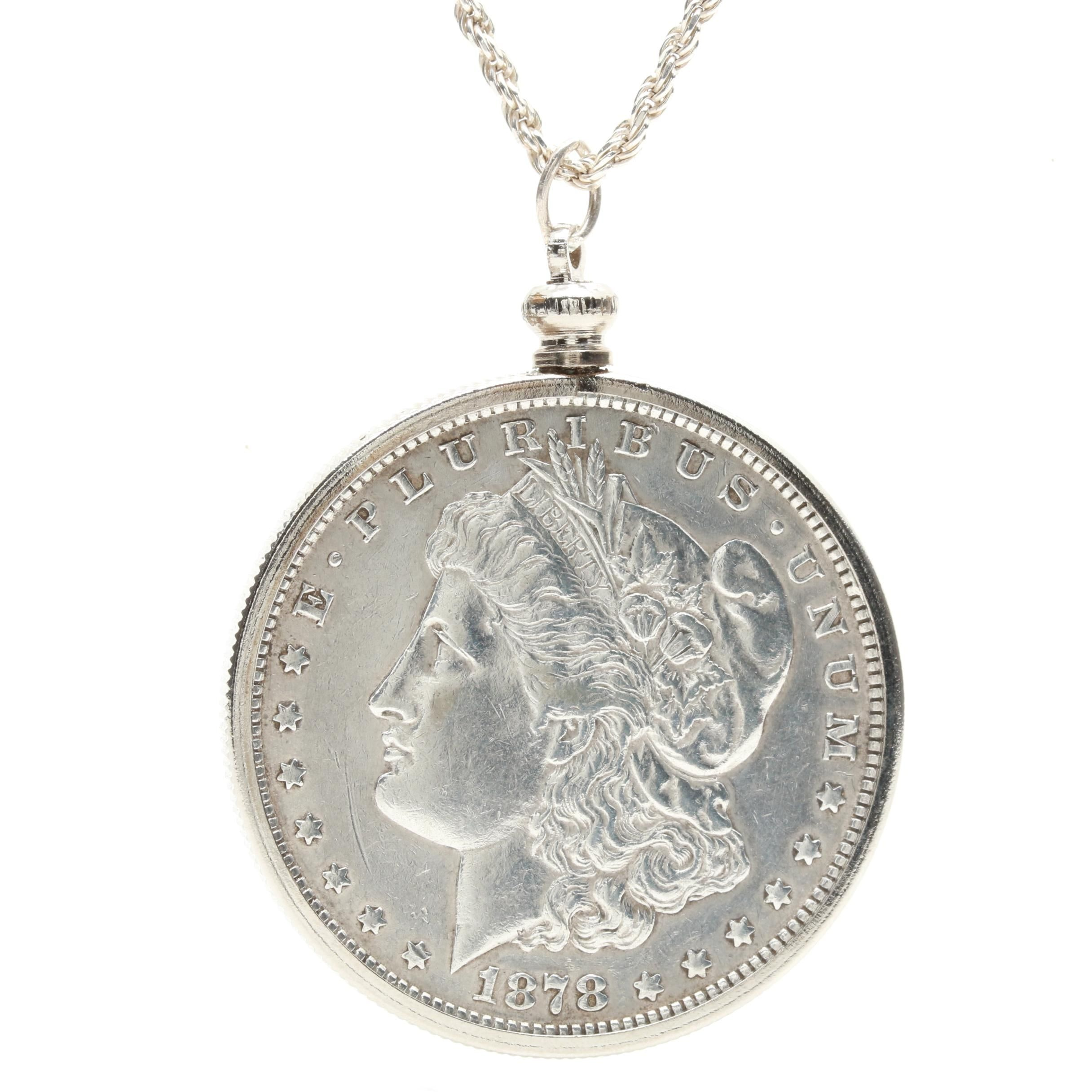 Sterling Silver Necklace with 1878 Morgan Silver Dollar